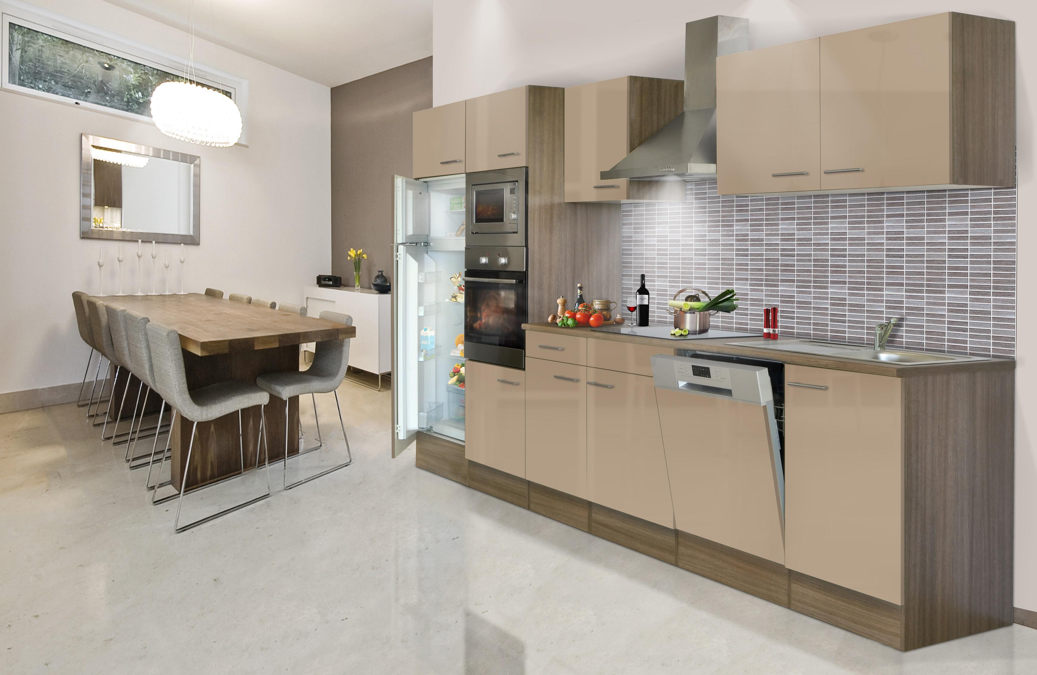 respekta Küche Küchenzeile Küchenblock Leerblock 340 cm Eiche York cappuccino