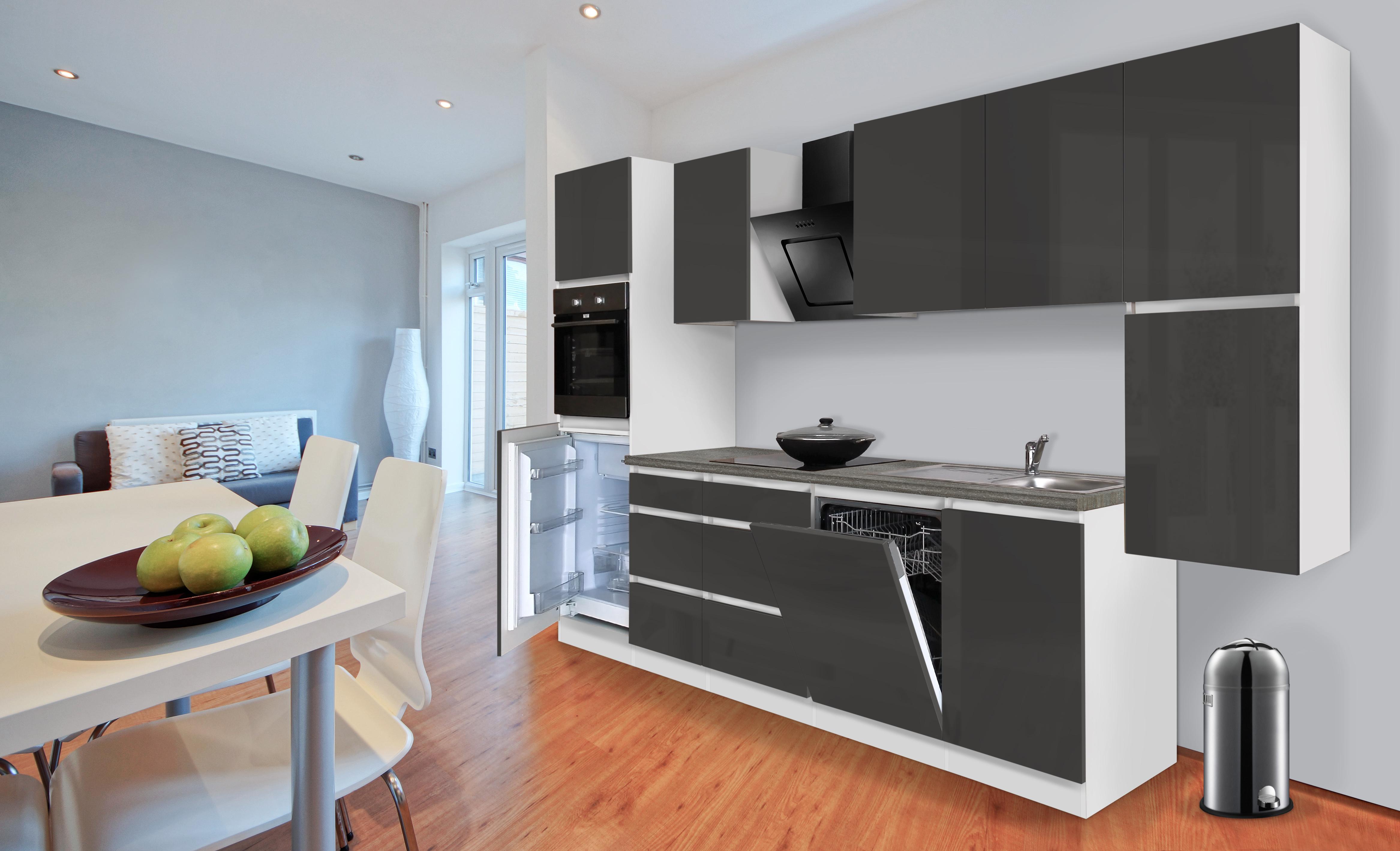 respekta Küche Küchenzeile Küchenblock grifflose Einbauküche 330 cm weiß grau