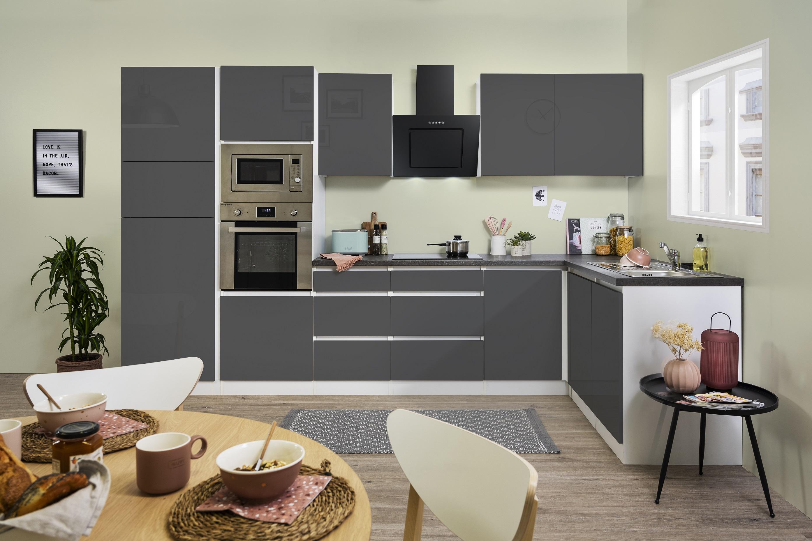 Winkelküche Küchenzeile Küche L-Form Küche grifflos grau 345 x 172 cm respekta