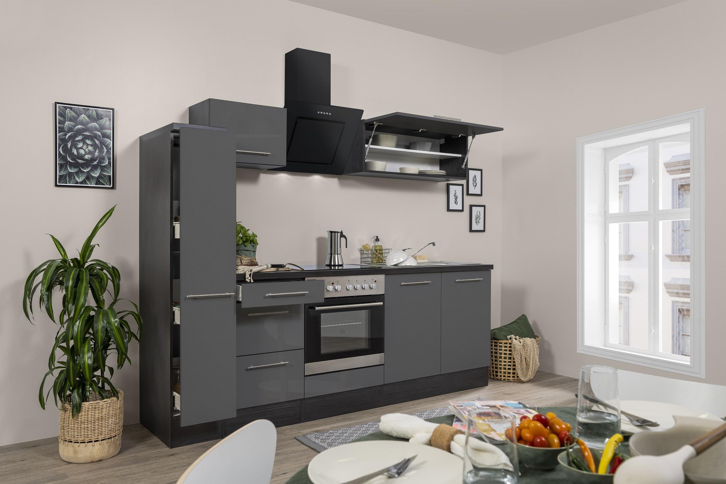 respekta Küchenzeile Küche Küchenblock Einbauküche Hochglanz 240 cm Eiche grau