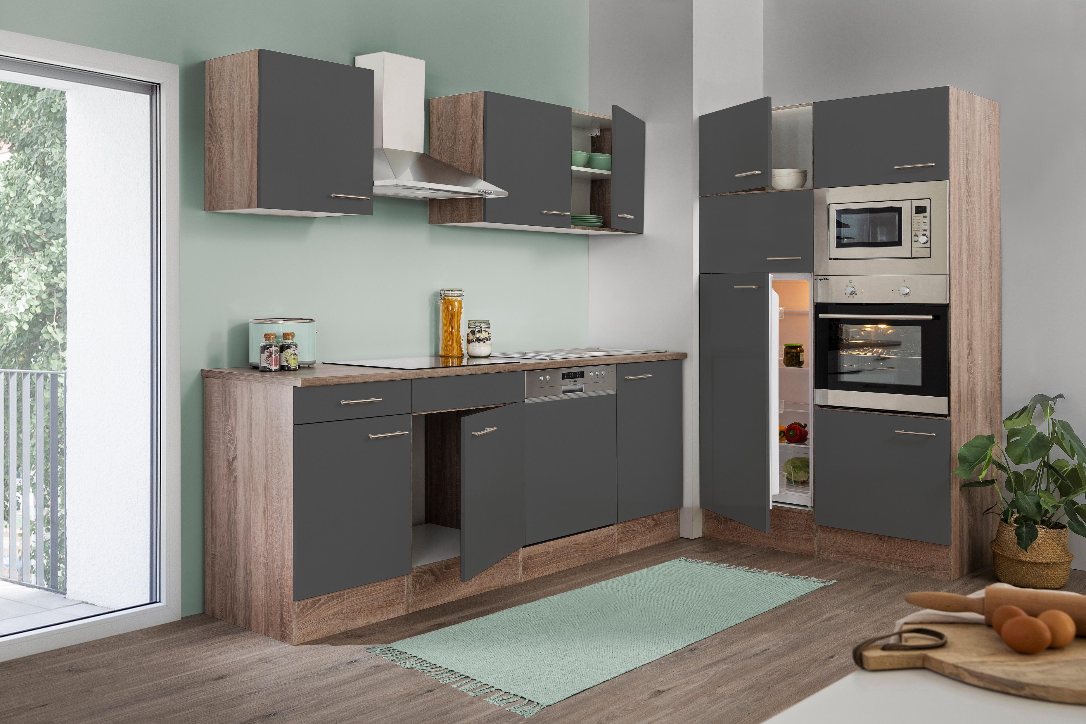 respekta Küche Küchenzeile Küchenblock Leerblock 340 cm Eiche York grau Glanz