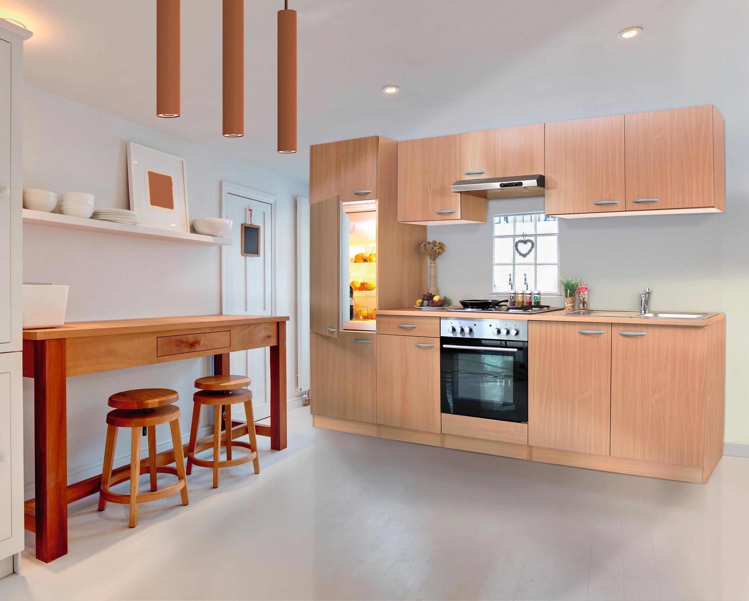 respekta Küche Küchenzeile Küchenblock Einbauküche Komplettküche 270 cm Buche