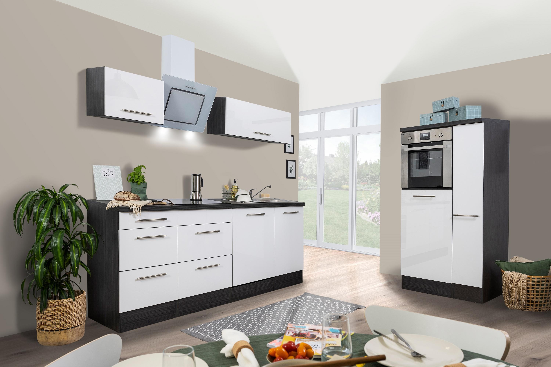 respekta Küchenzeile Küche Küchenblock Einbauküche 310cm Hochglanz Eiche weiß