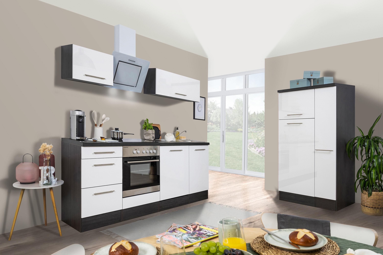 respekta Küchenzeile Küche Küchenblock Einbauküche Hochglanz 310 cm Eiche weiß