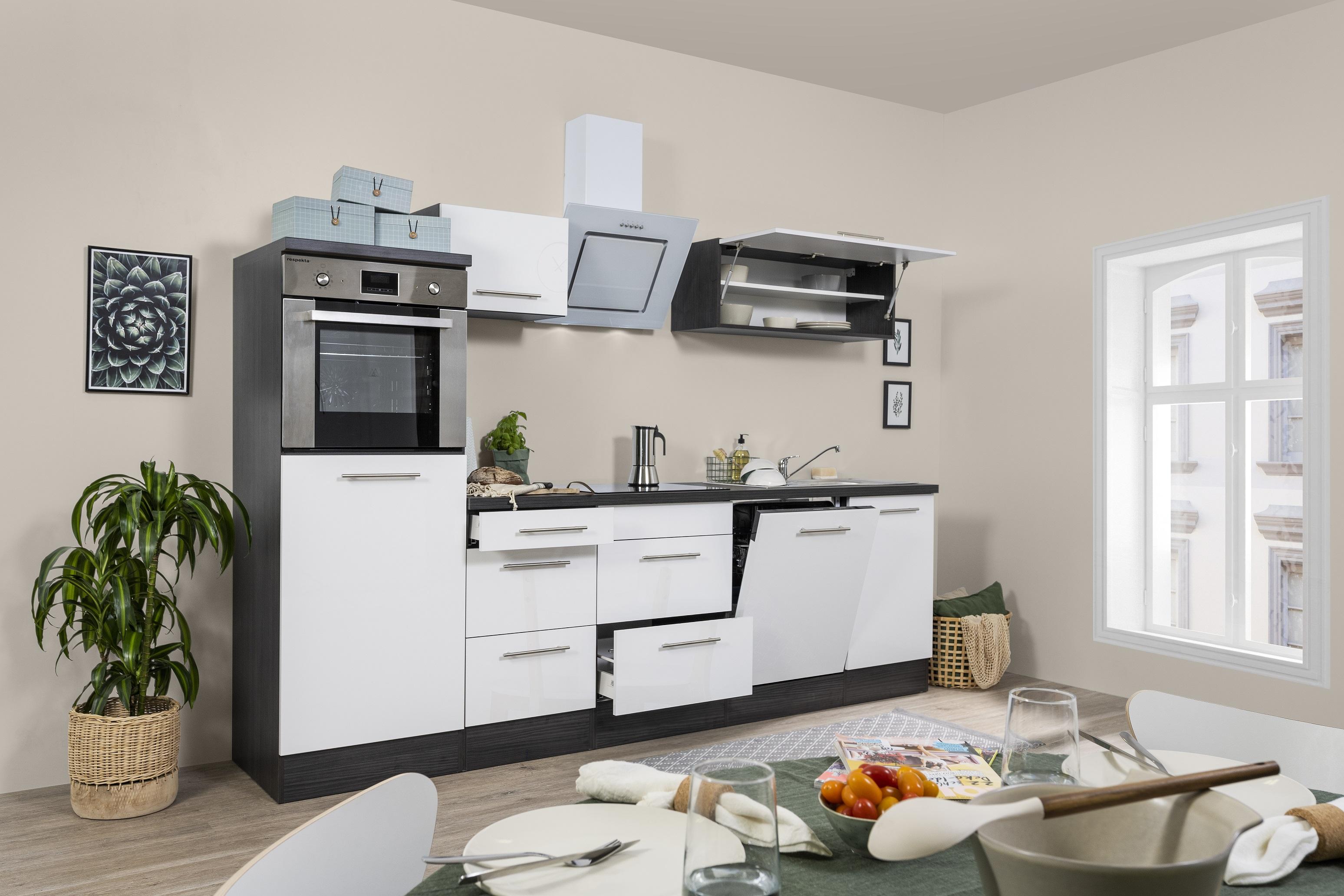 respekta Küchenzeile Küche Küchenblock Einbauküche 280cm Hochglanz Eiche weiß