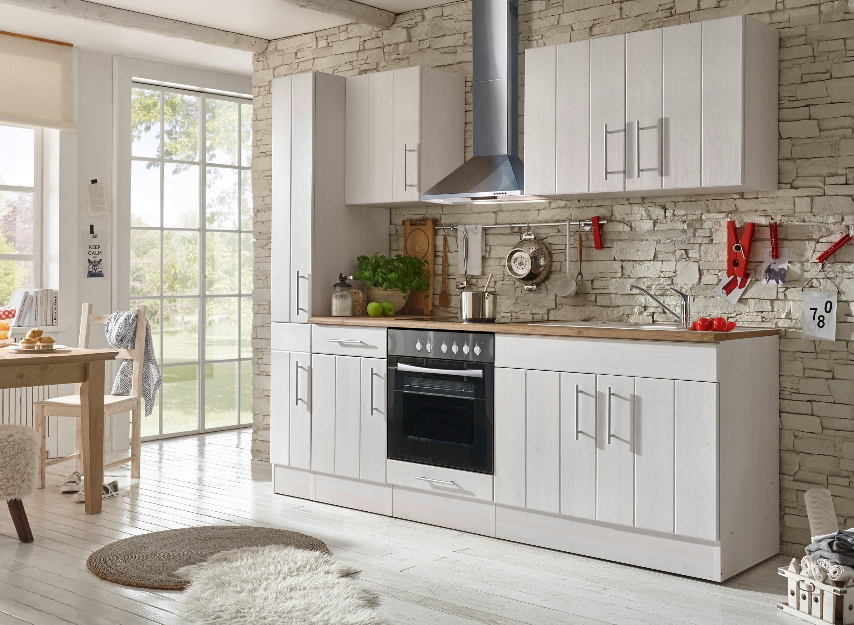 respekta Küche Küchenzeile Küchenblock Landhausküche Einbauküche 240 cm weiß