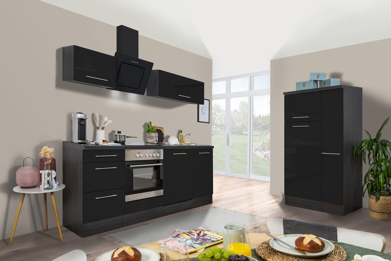 respekta Küchenzeile Küche Küchenblock Einbauküche Hochglanz 310cm Eiche schwarz