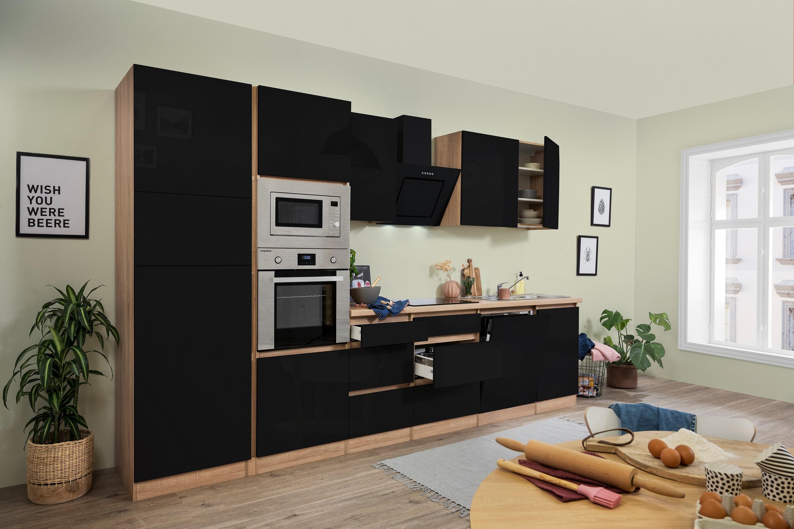 respekta Küchenzeile Küchenblock grifflose Küche 345 cm Eiche Sonoma schwarz