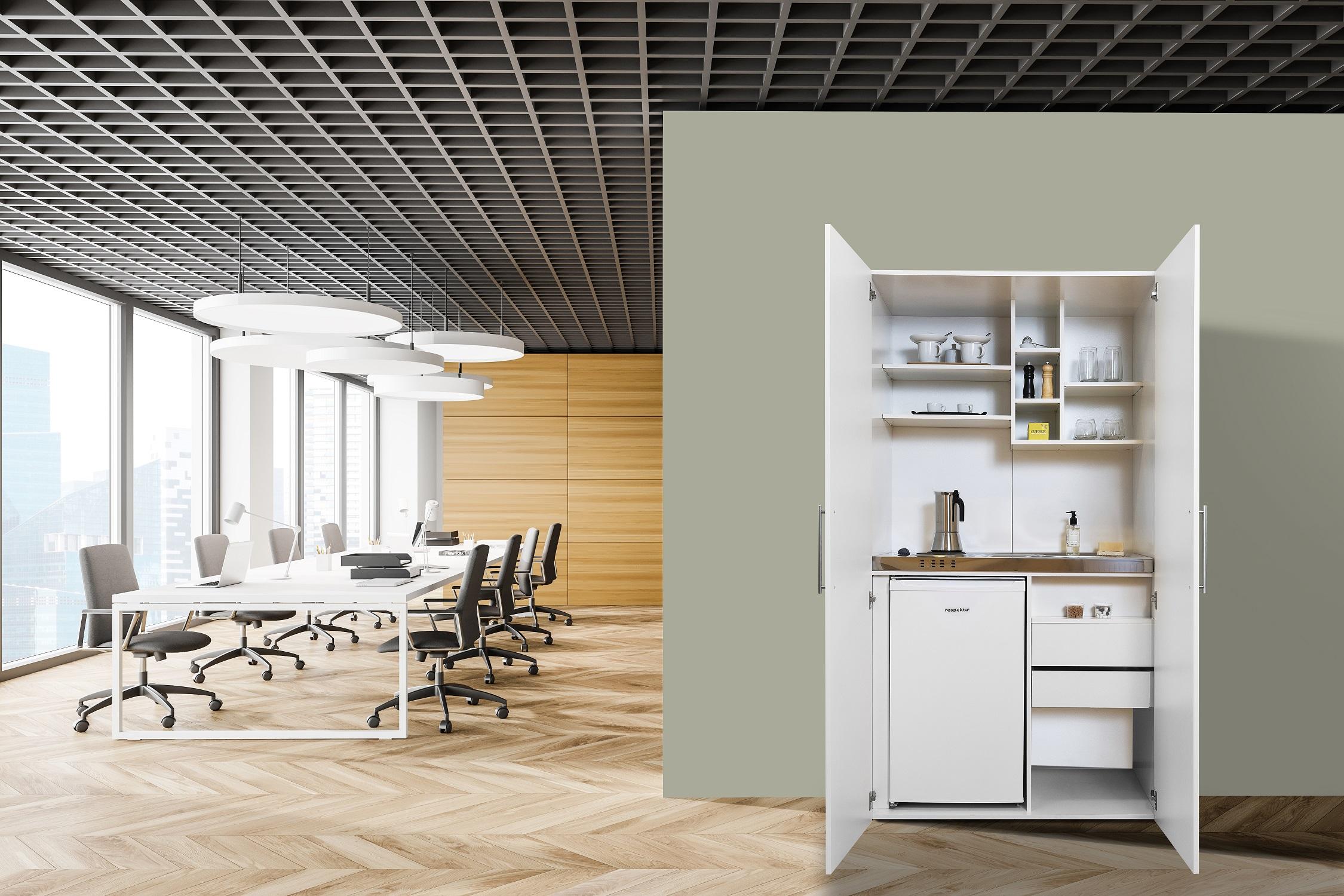 respekta Schrankküche Küche Miniküche Küchenzeile Küchenblock Singleküche weiß