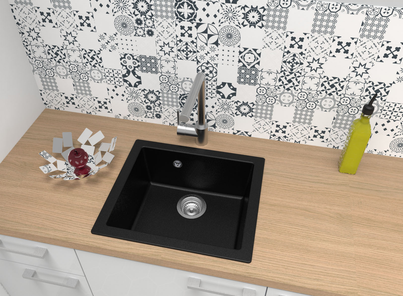 Spüle Küchenspüle Einbauspüle Spülbecken Mineralite 50 x 44 schwarz respekta