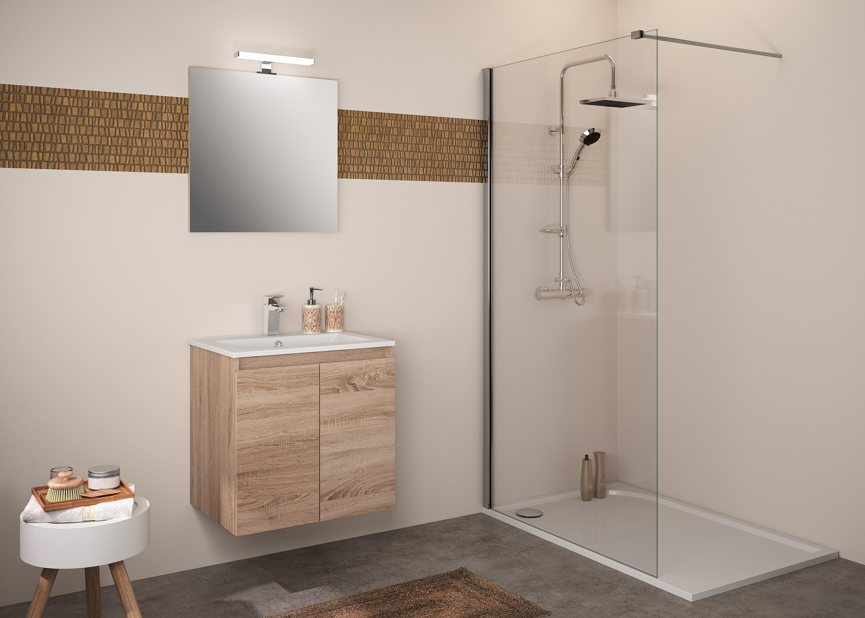 Badmöbel Set Unterschrank 60 cm Waschtisch Waschbecken Spiegel grifflos ALLIBERT