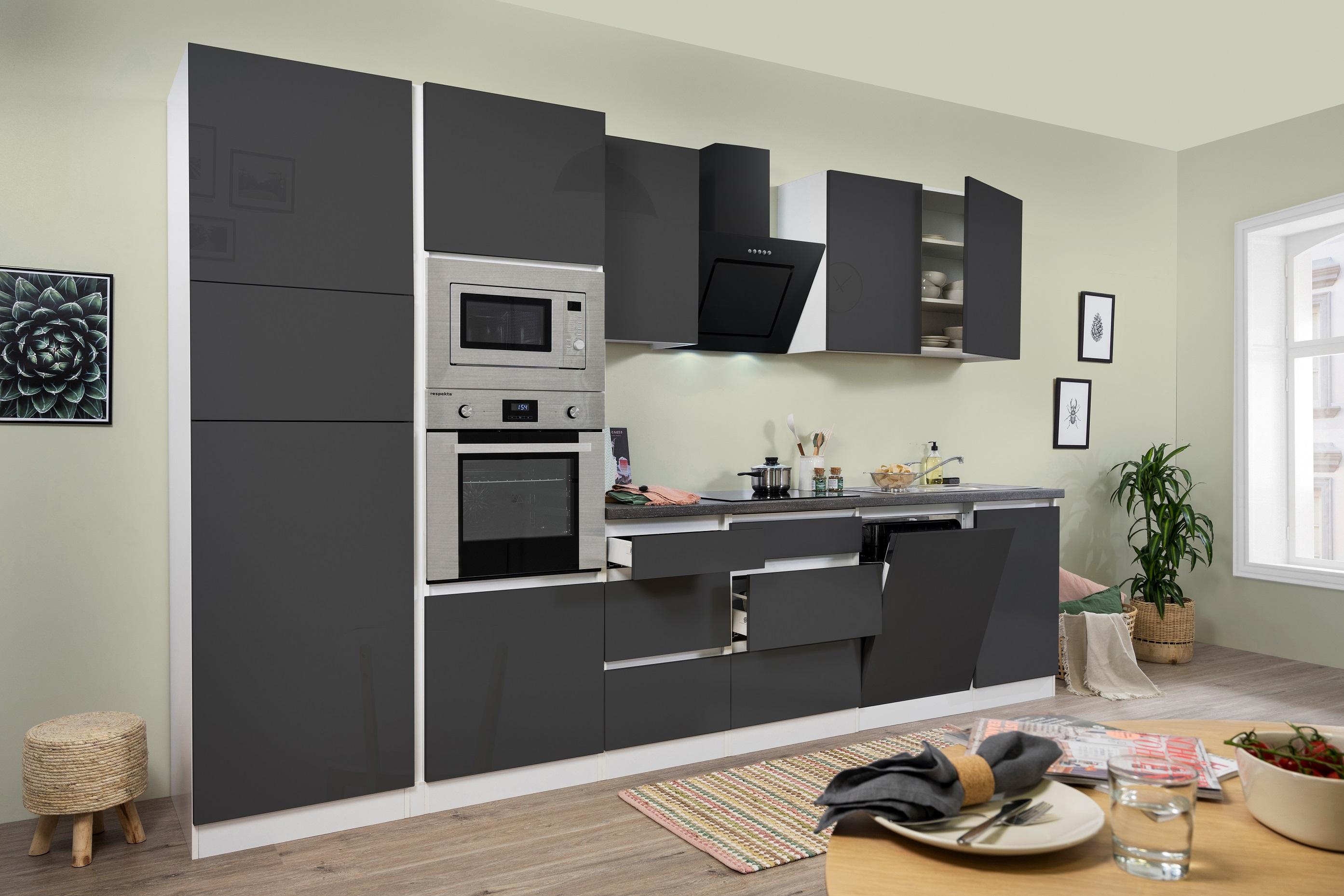 respekta Küche Küchenzeile Küchenblock grifflose Einbauküche 345 cm weiß grau