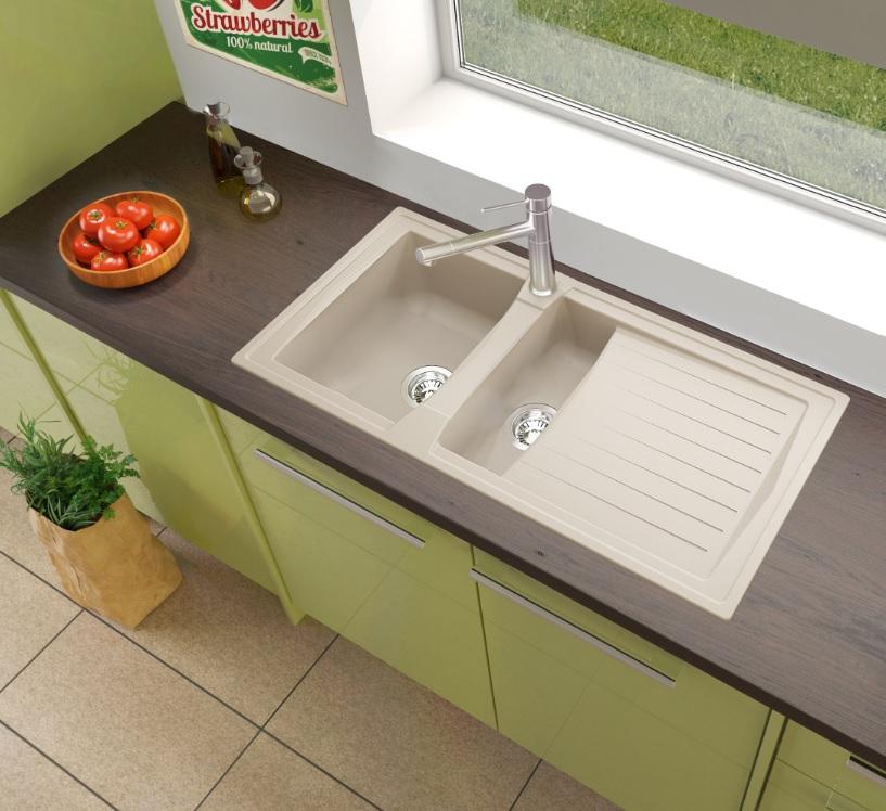 respekta Spüle Küchenspüle Einbauspüle Mineralite Spülbecken 100 x 50 sandbeige