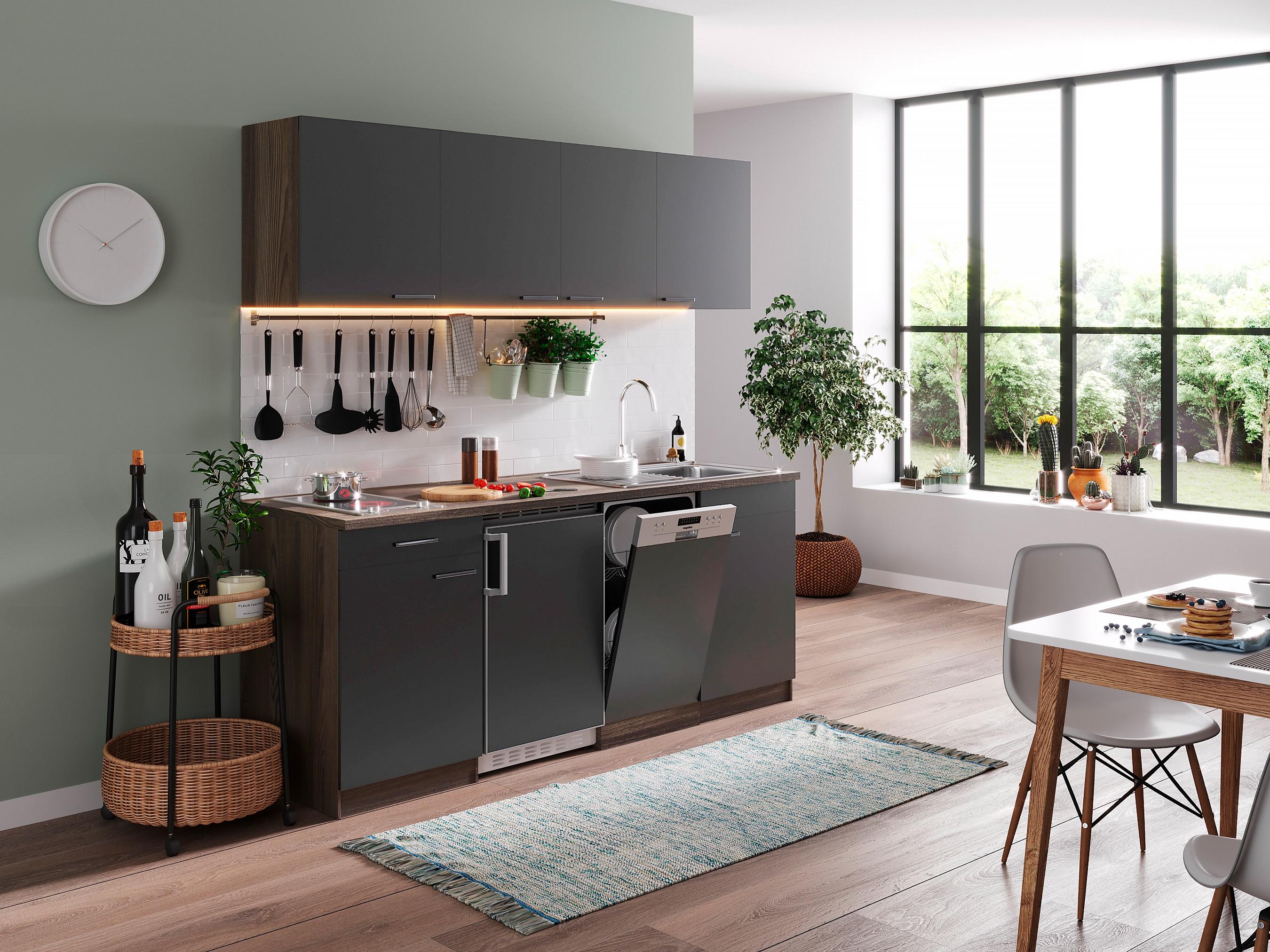respekta Küche Küchenblock Küchenzeile Einbauküche Single 195 cm Eiche York grau