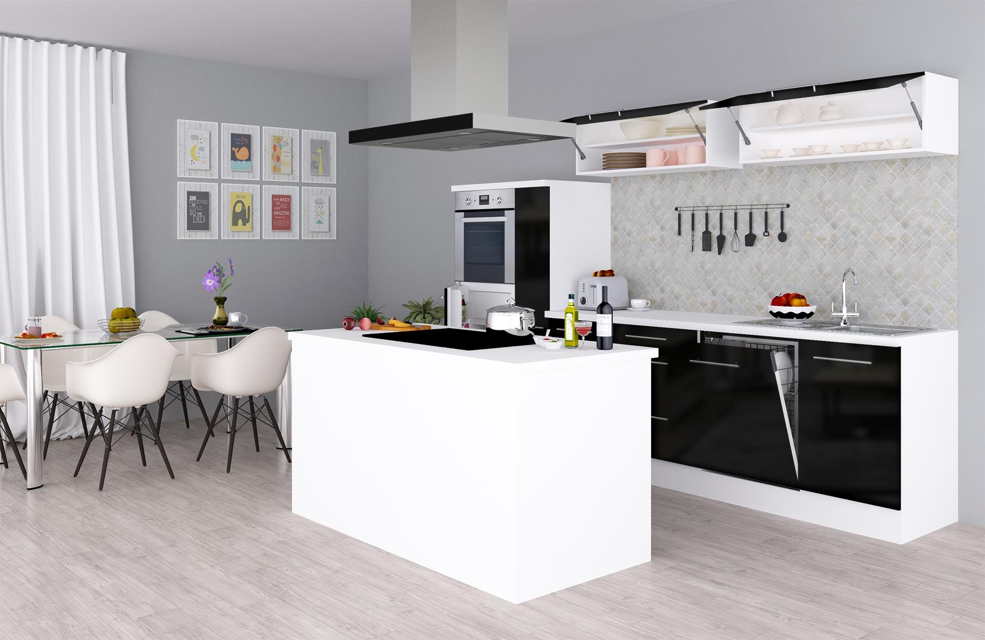 respekta Küchenzeile Inselküche Küche Hochglanz Küchenblock 310 cm weiß schwarz