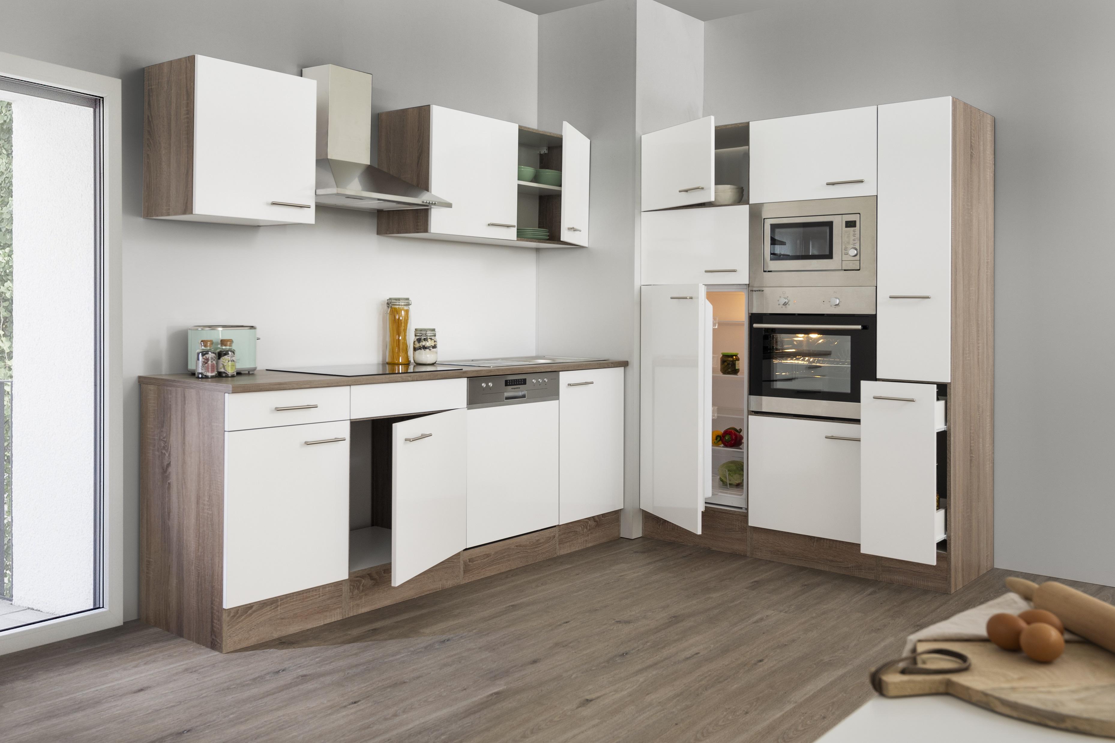 respekta Küche Küchenzeile Küchenblock Leerblock 370 cm Eiche York weiss Glanz