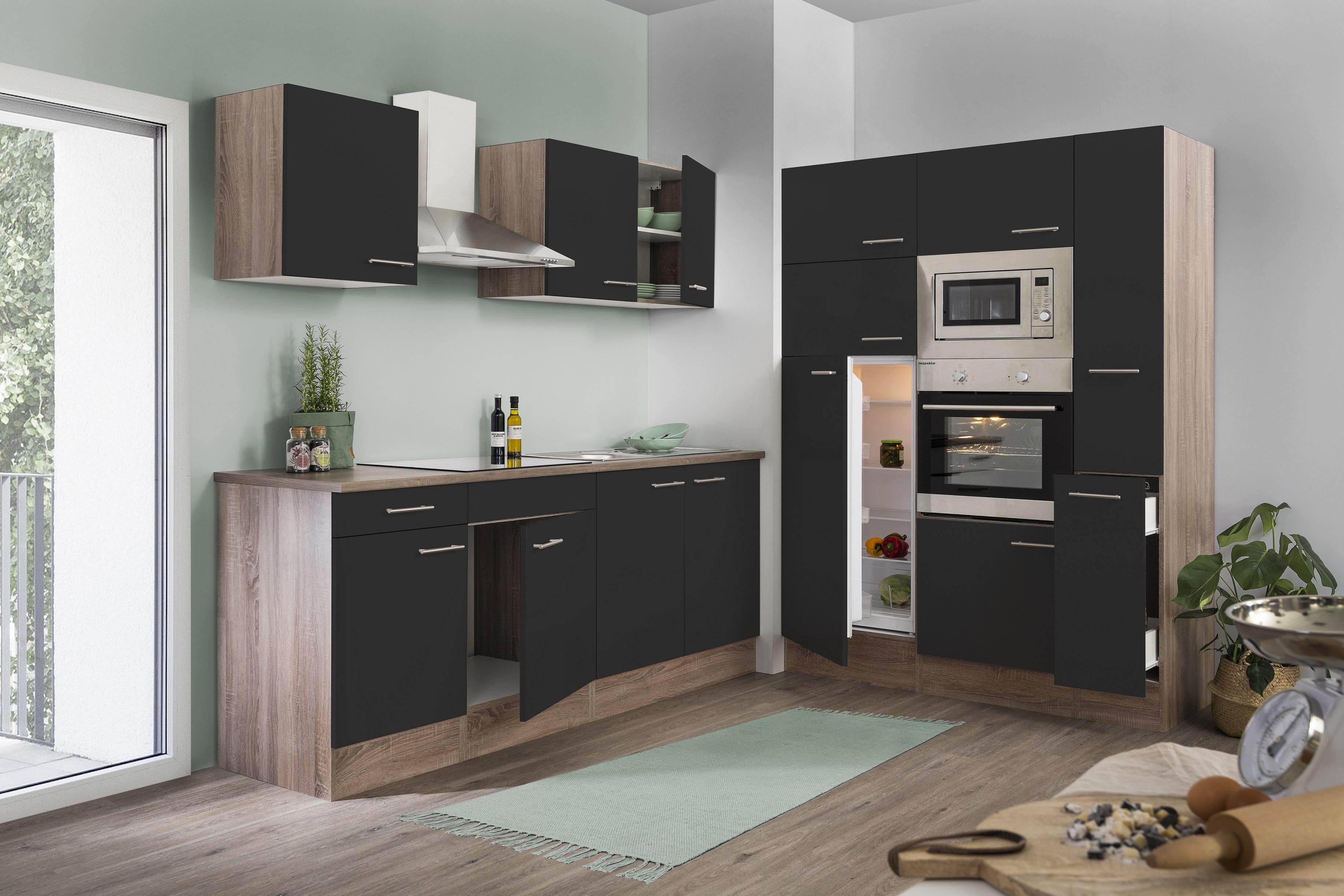 respekta Küche Küchenzeile Küchenblock Leerblock 360 cm Eiche York schwarz Glanz