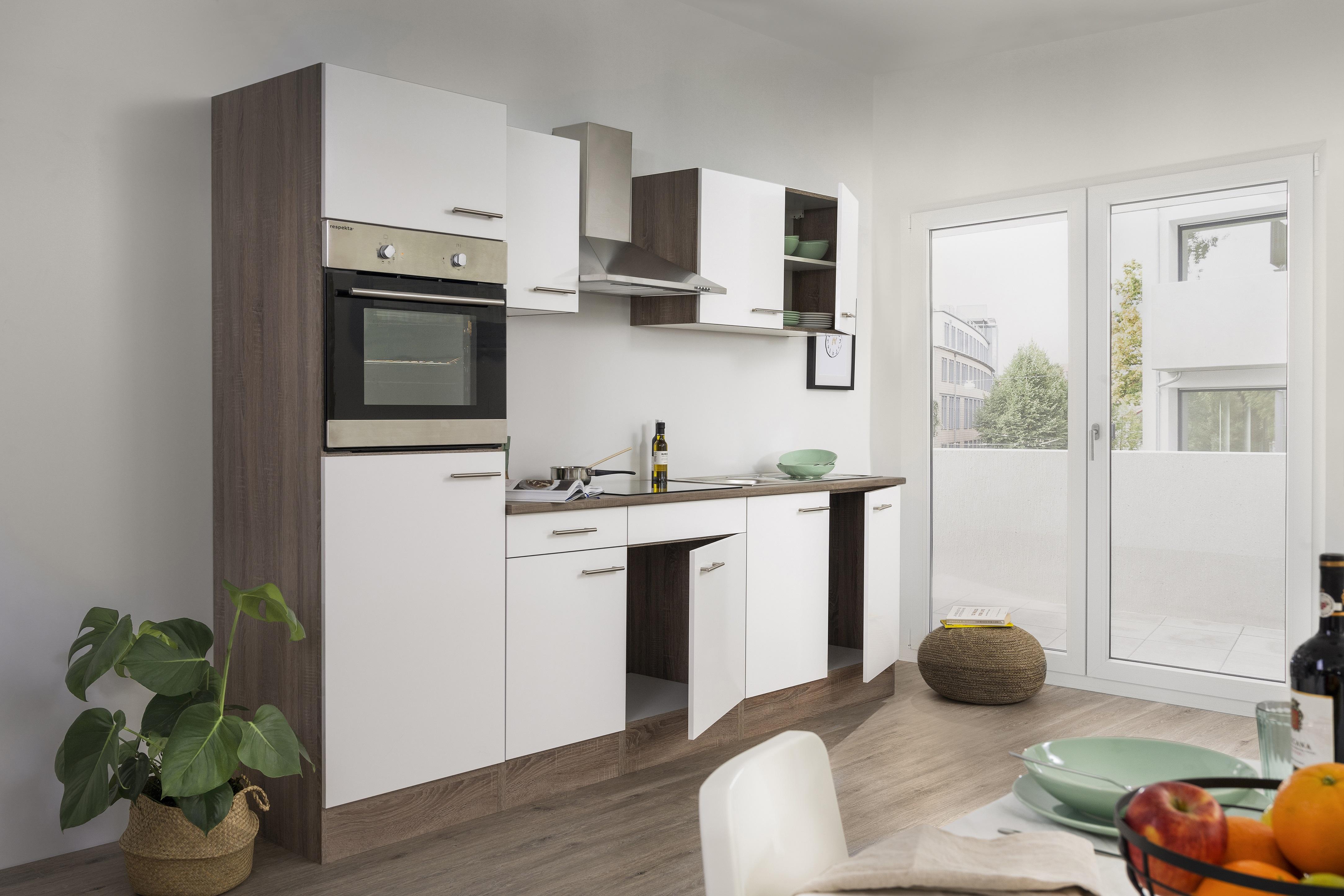 respekta Küchenzeile Küche Einbau Küchenblock Leerblock 270 cm Eiche York weiß