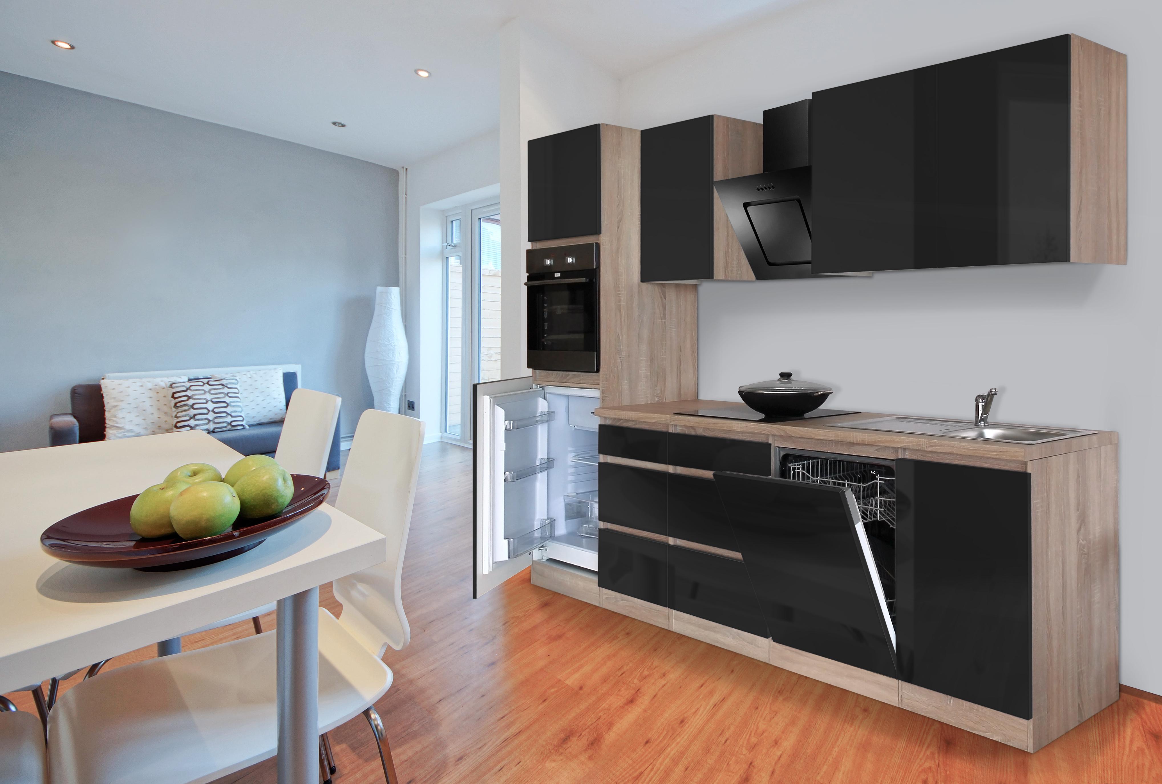 respekta grifflose Küche Leerblock Küchenleerblock 280cm Eiche Sonoma schwarz