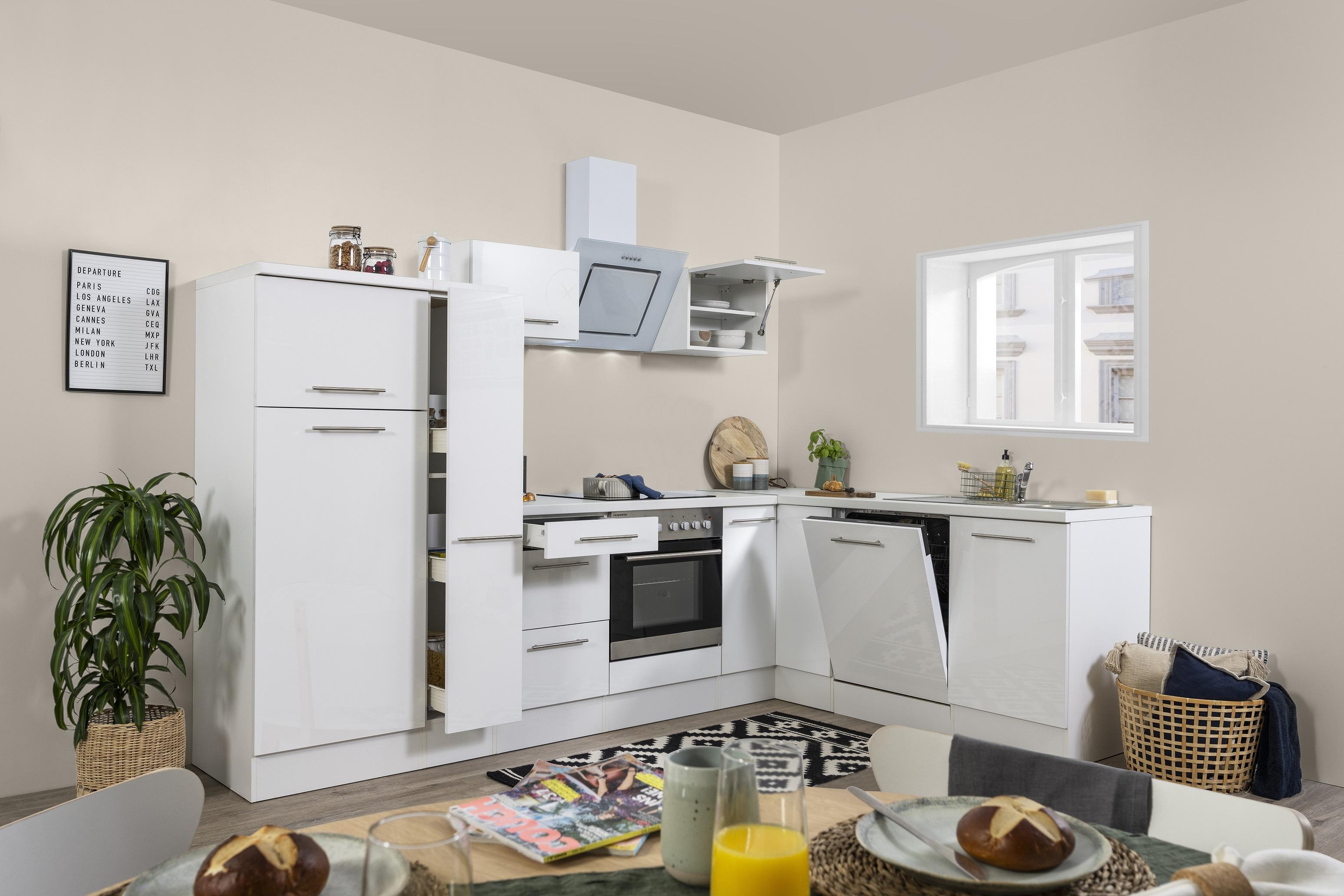 Winkelküche Küchenzeile L-Form Küche Einbauküche weiß Glanz 290x200 cm respekta