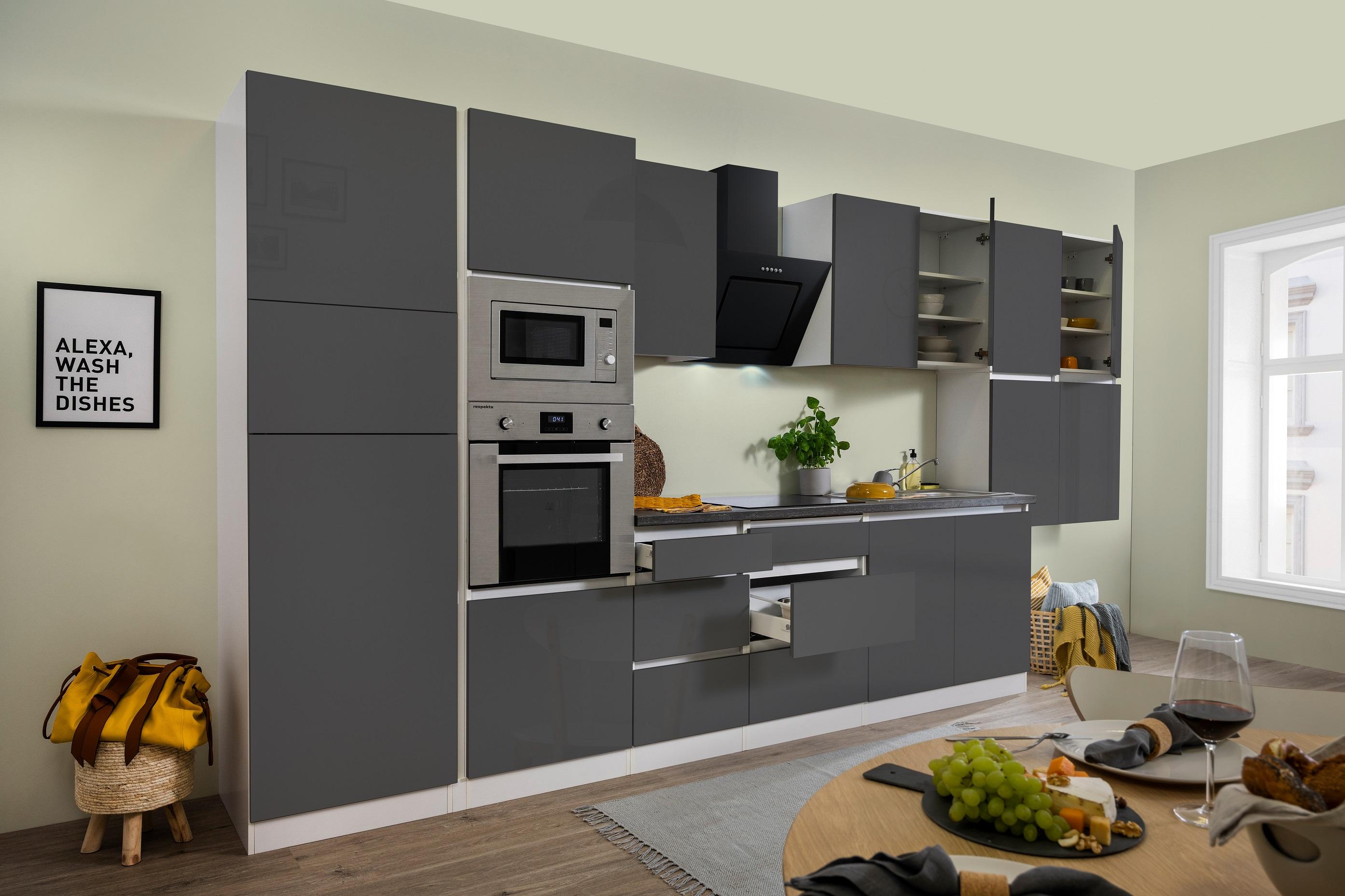 respekta Küche Küchenzeile Küchenblock grifflose Einbauküche 435 cm weiß grau
