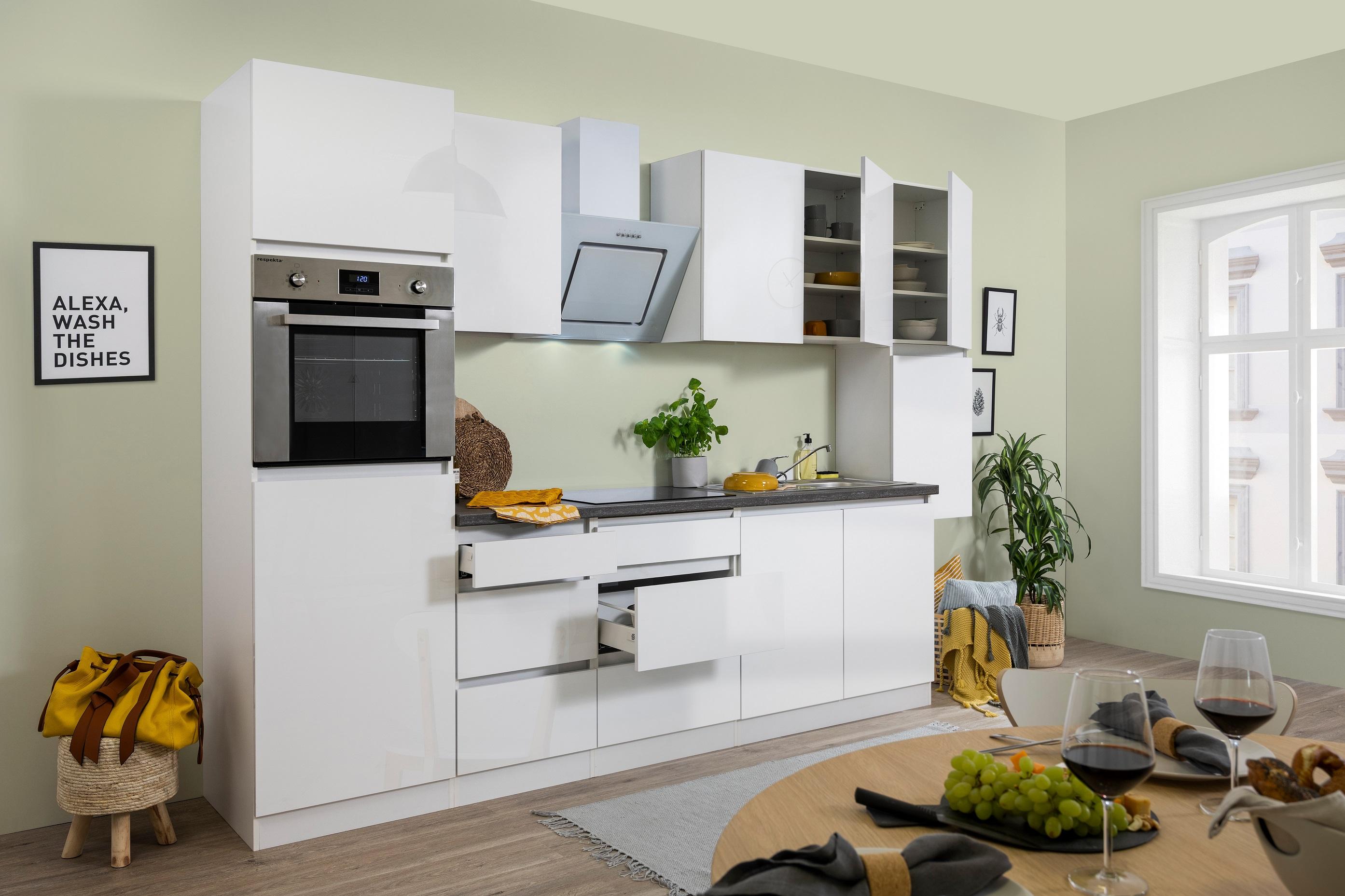 respekta Premium grifflose Küche Leerblock Küchenleerblock 320cm weiß Hochglanz