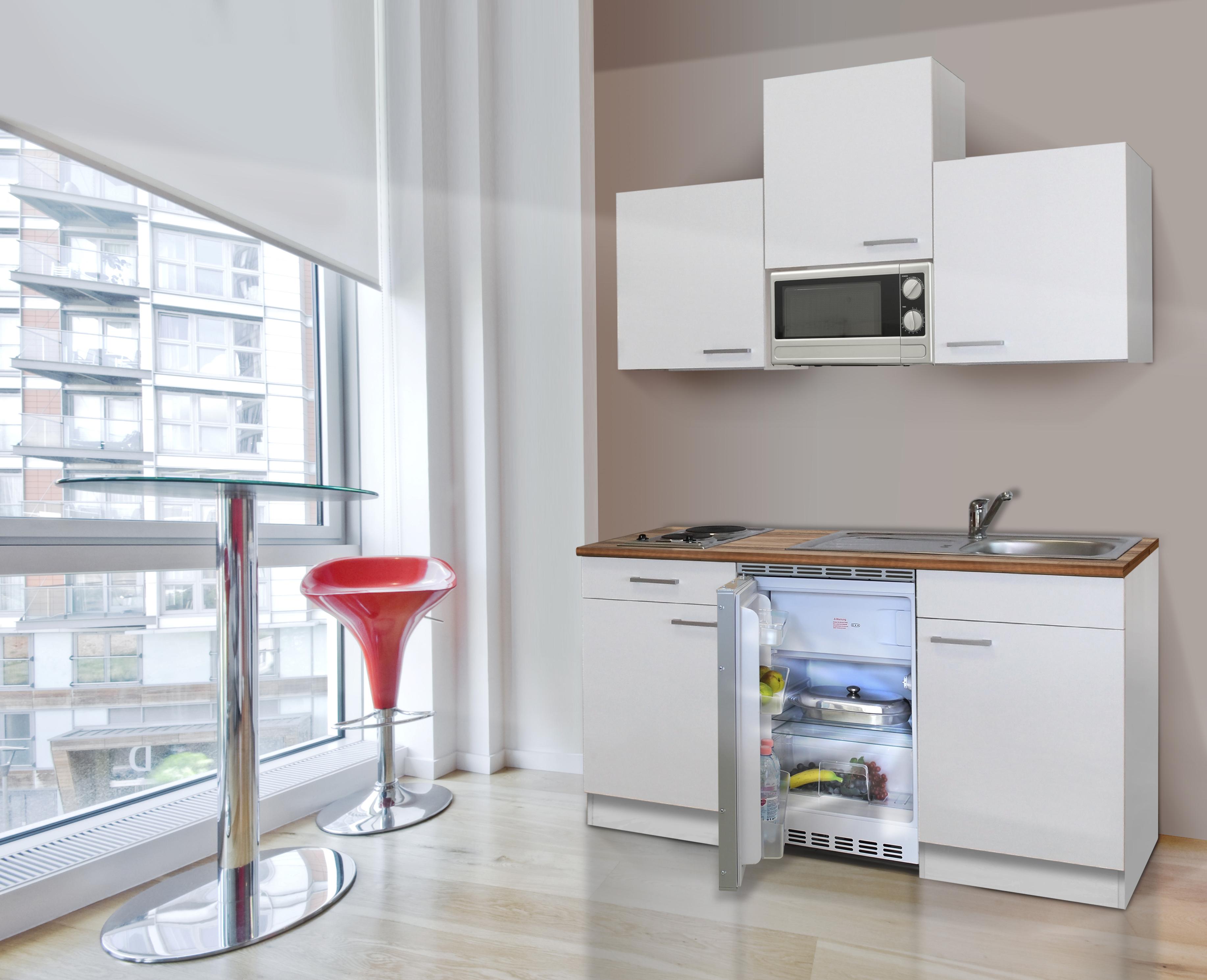 respekta Miniküche Küche Singleküche Küchenzeile Einbau Küchenblock 150 cm weiß