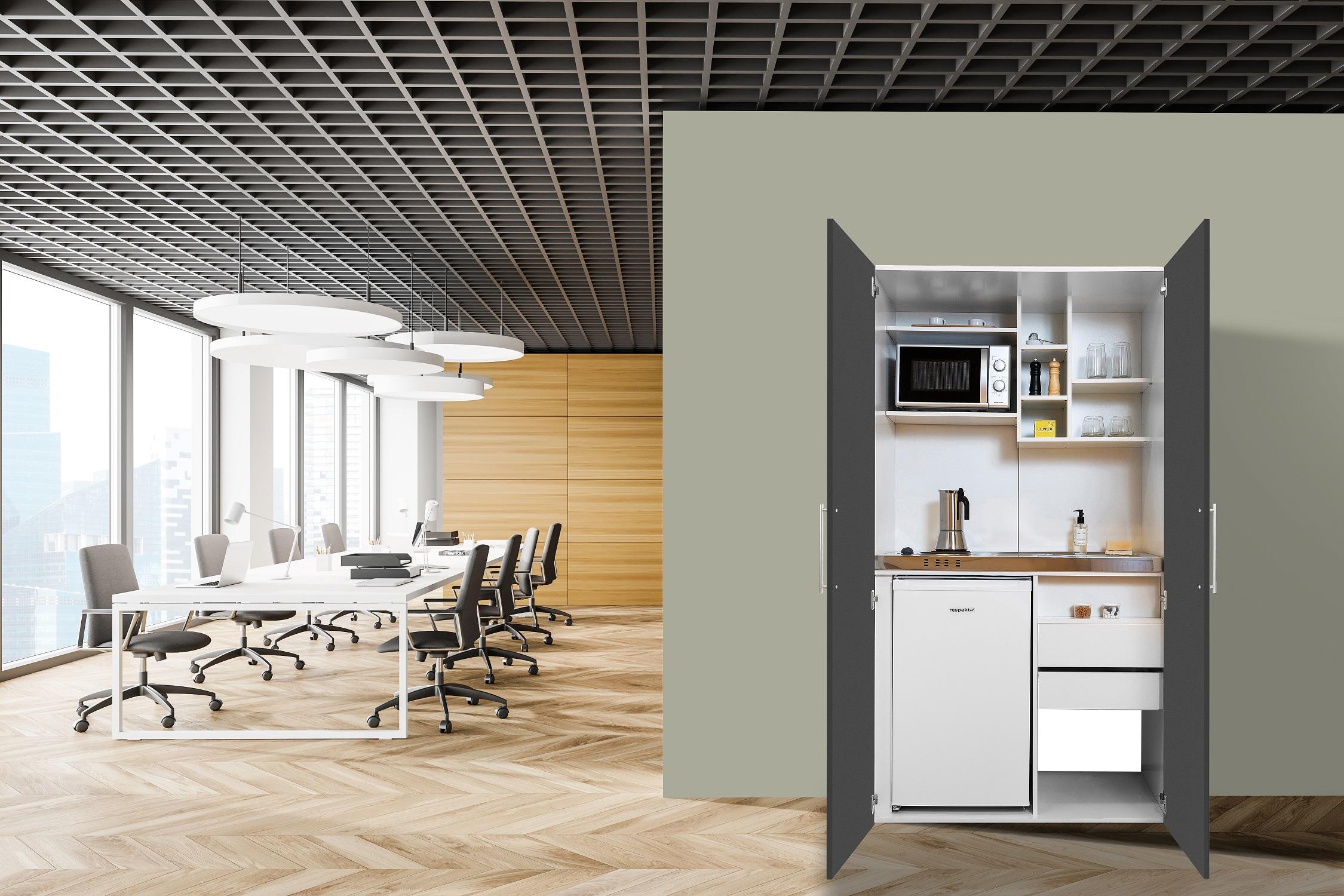 respekta Schrankküche Küche Miniküche Küchenzeile Pantry Küchenblock weiß grau