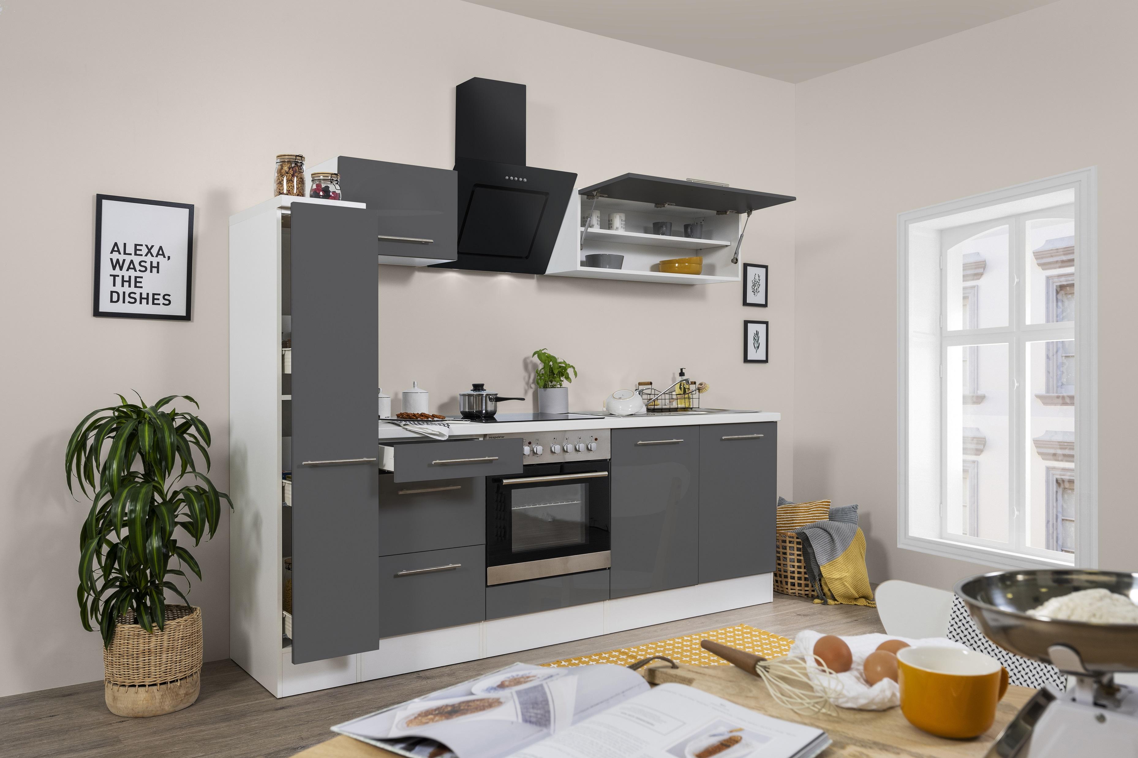 respekta Küchenzeile Küche Küchenblock Einbauküche Hochglanz 240 cm weiß grau