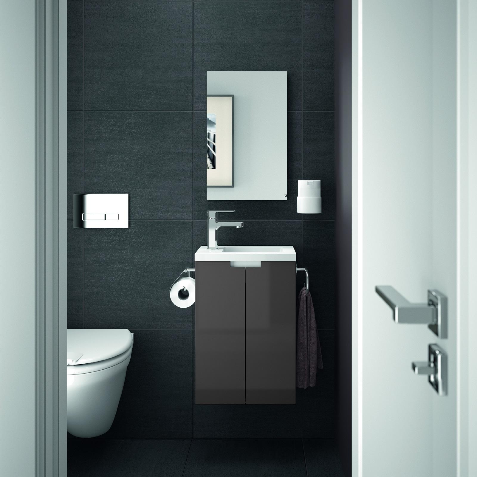 ALLIBERT Badmöbel Gäste-WC Set vormontiert weiß grau Glanz Waschtisch 40 cm
