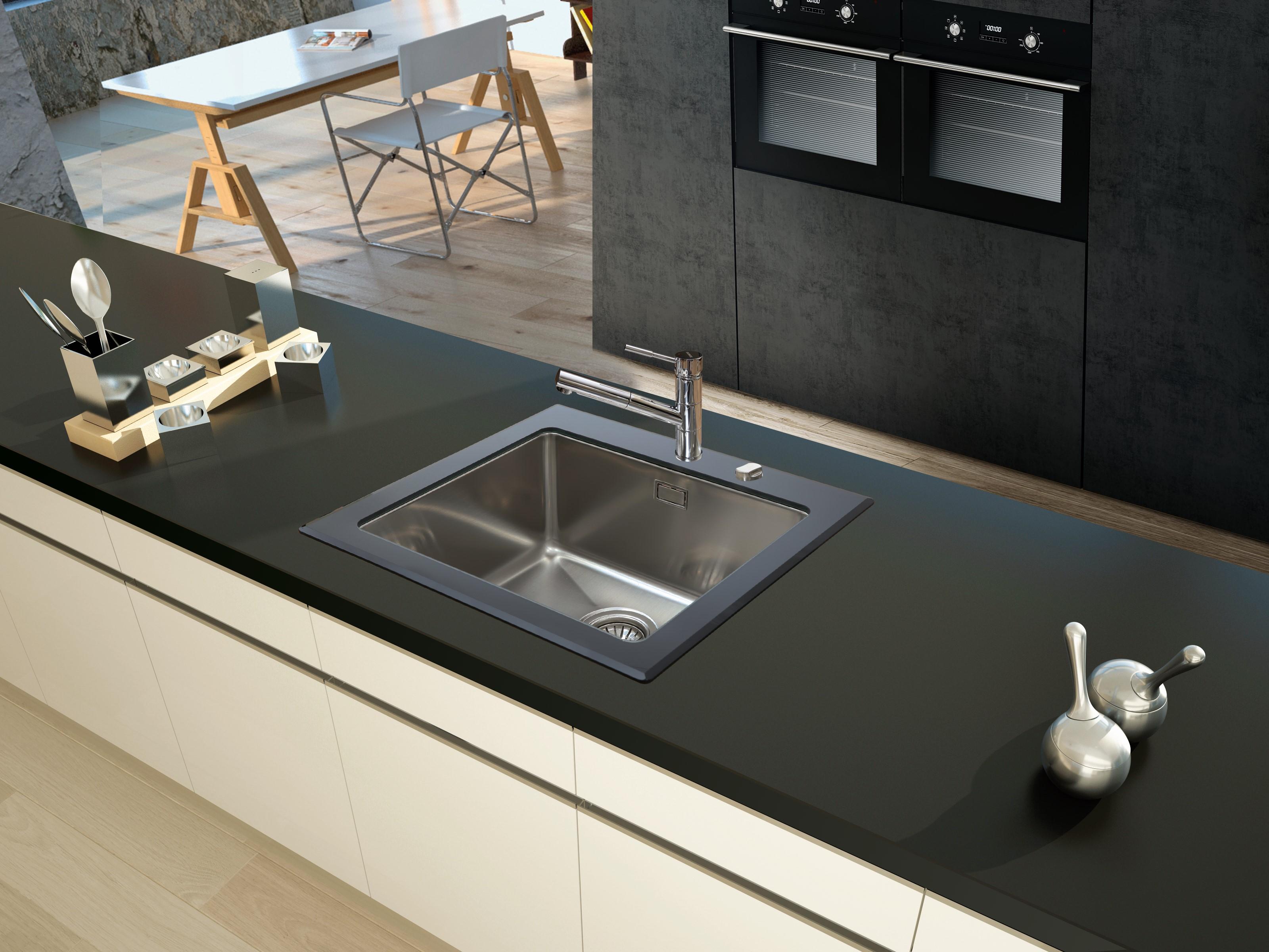 respekta Spüle Einbauspüle Glasspüle Küchenspüle Glas Edelstahl 55 x 53 schwarz