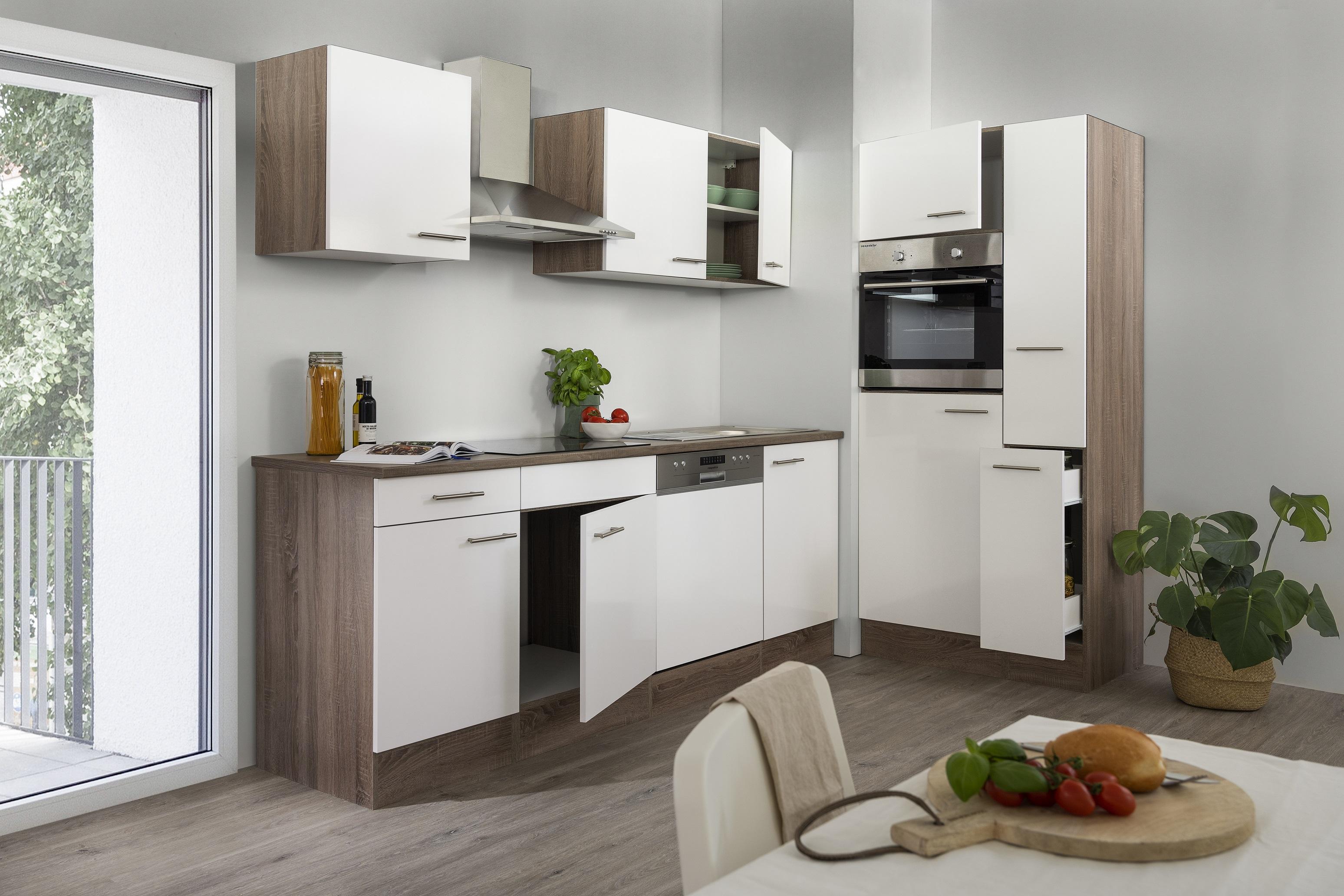 respekta Küchenzeile Küche Einbau Küchenblock Leerblock 310 cm Eiche York weiß