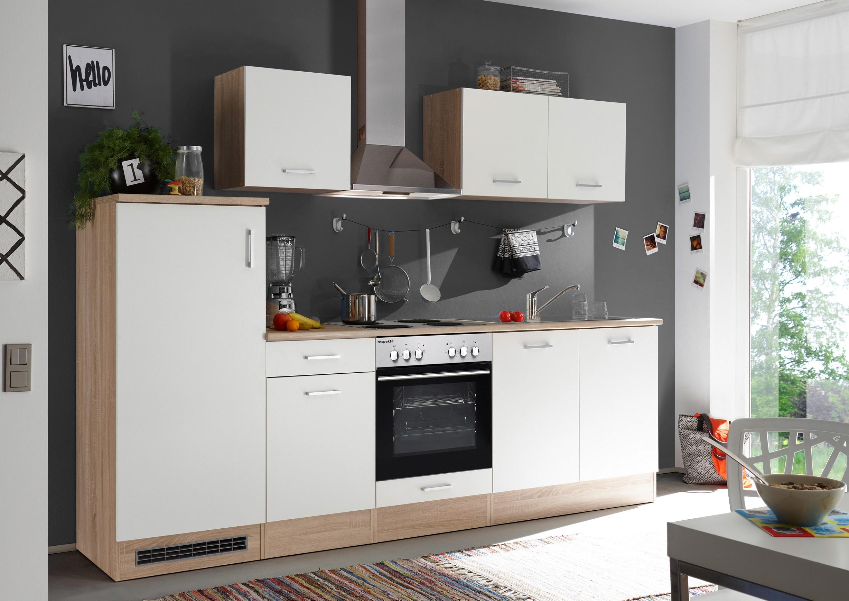 respekta Küche Küchenzeile Küchenblock Einbauküche 270 cm Eiche Natura weiß