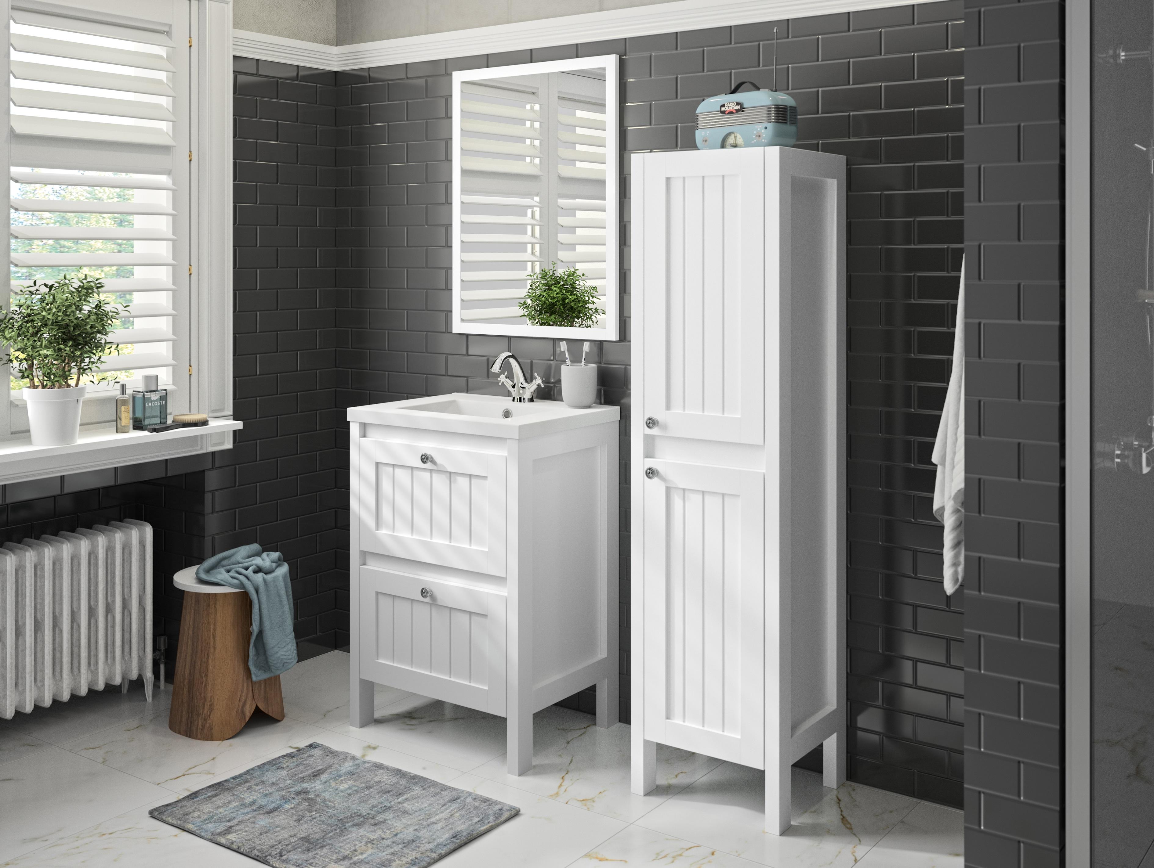 Badmöbel Set Waschbecken Unterschrank Spiegel vormontiert 60 cm weiß ALLIBERT