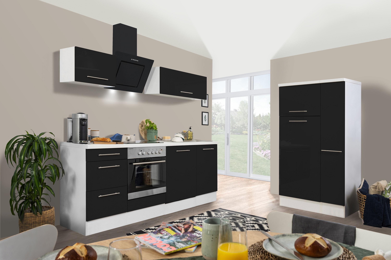 respekta Küchenzeile Küche Küchenblock Einbauküche Hochglanz 310cm weiß schwarz