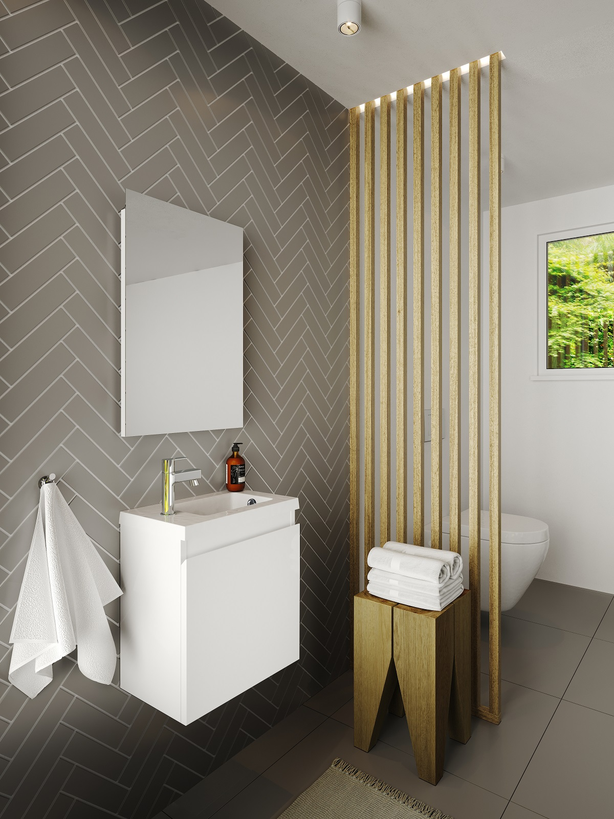 Badmöbel Set Unterschrank 40 cm Waschtisch Spiegel vormontiert grifflos ALLIBERT