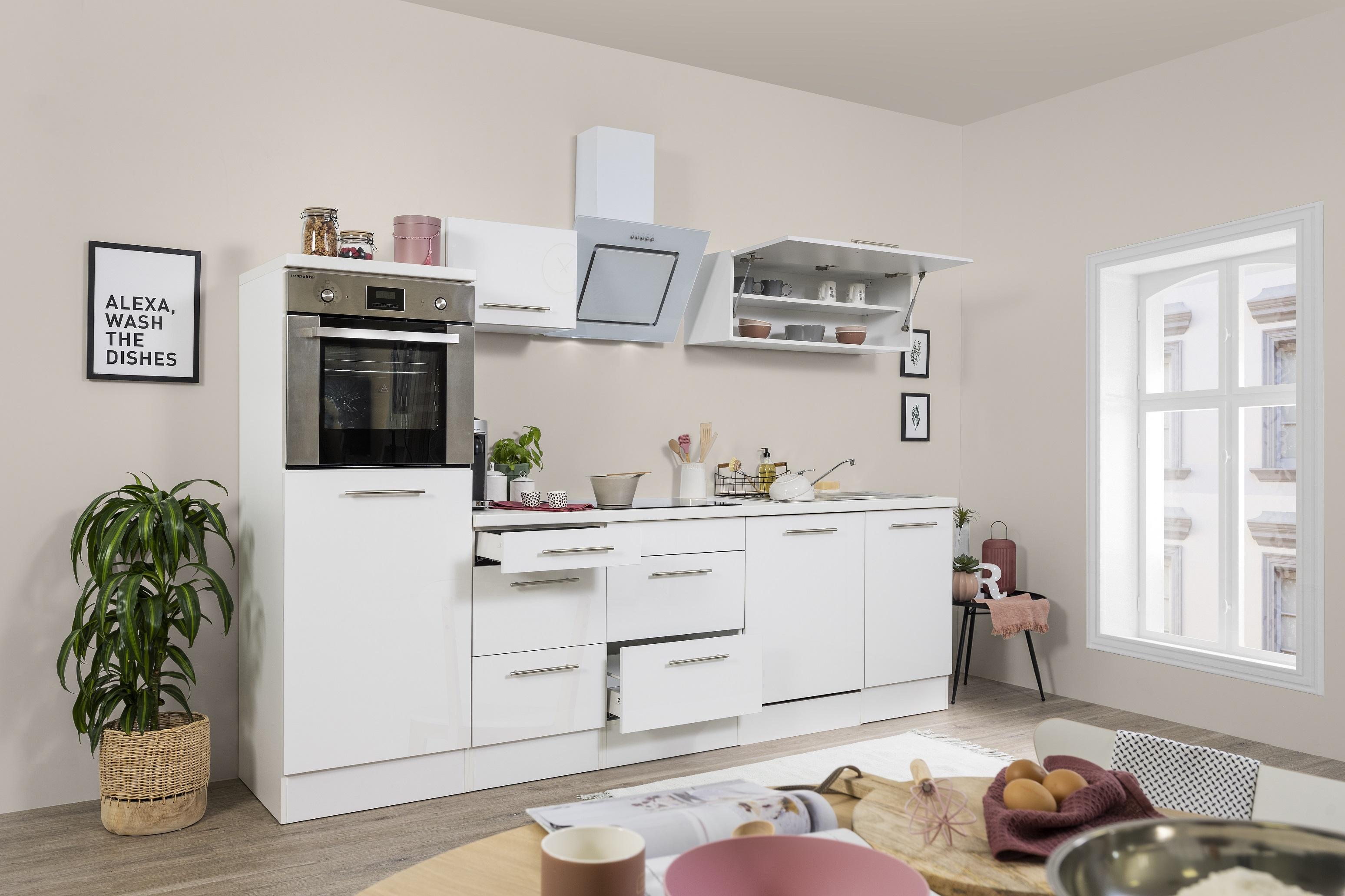 respekta Küchenzeile Küche Küchenblock Einbauküche Komplett 280cm Hochglanz weiß