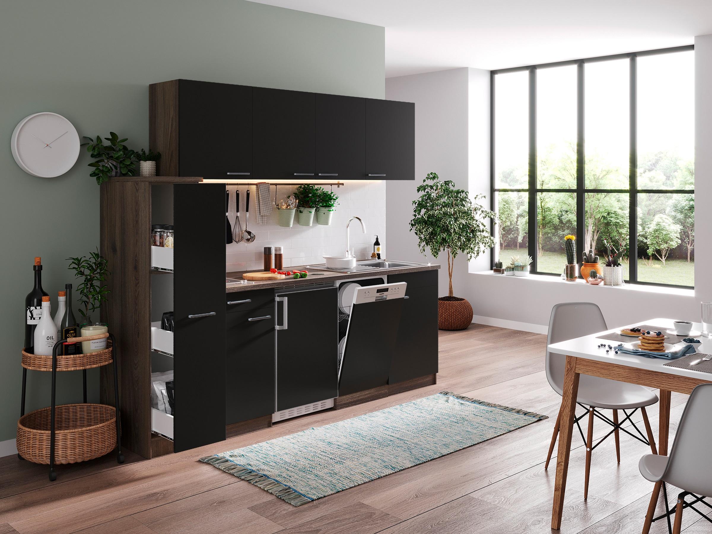 respekta Küche Küchenzeile Küchenblock Singleküche 225 cm Eiche York schwarz