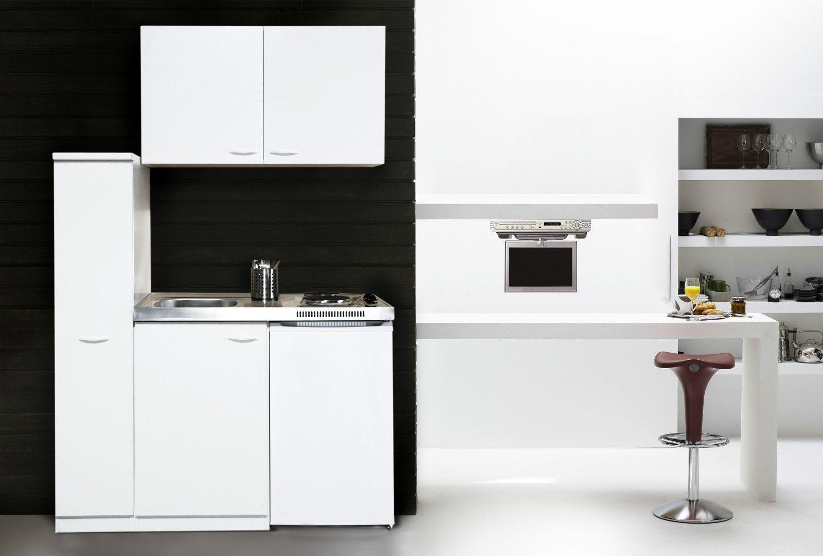 respekta Küche Miniküche Küchenzeile Küchenblock Single Pantryküche 130 cm weiß