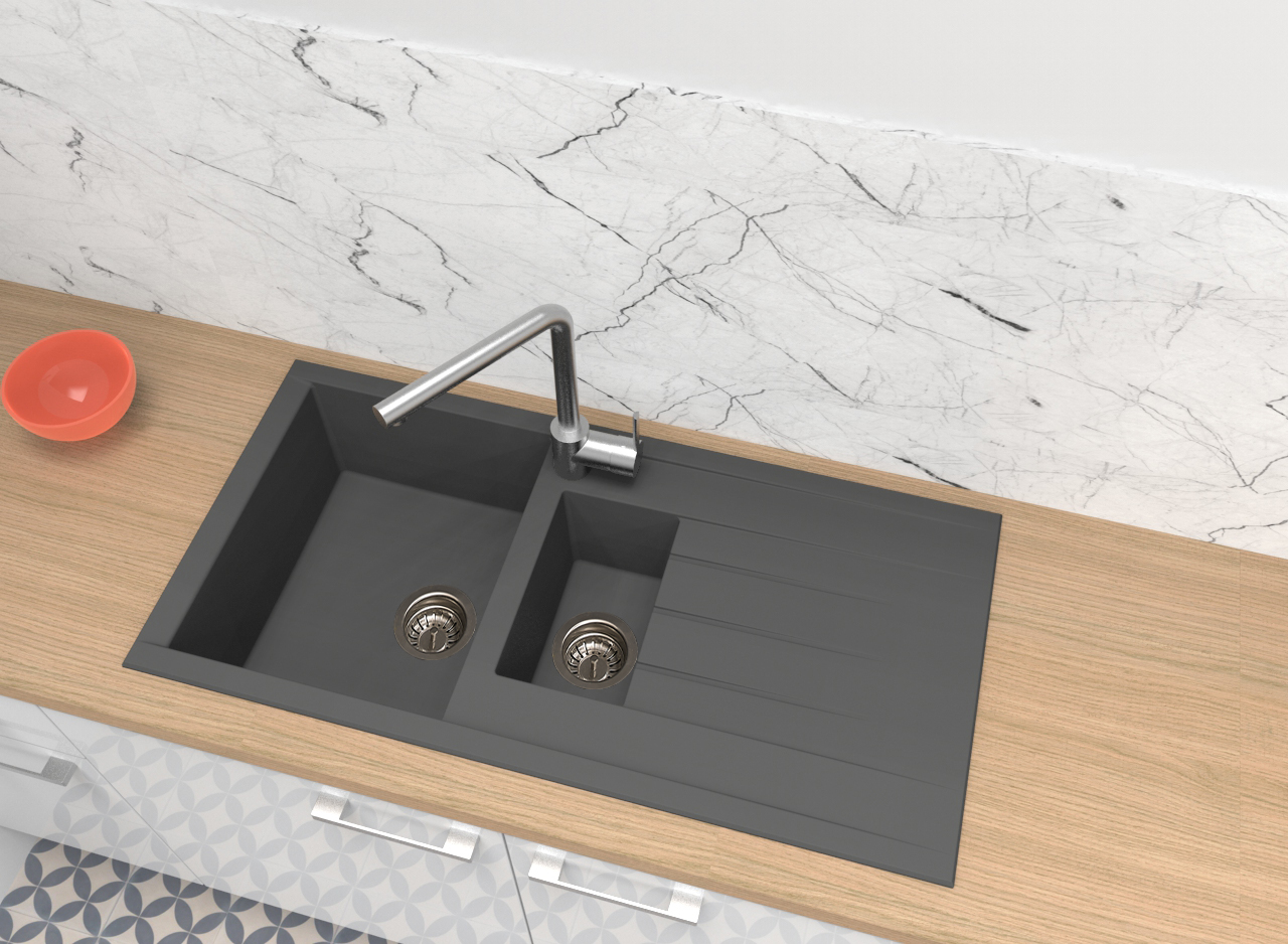 Spüle Küchenspüle Einbauspüle Granit Spülbecken Mineralite 100x50 grau respekta