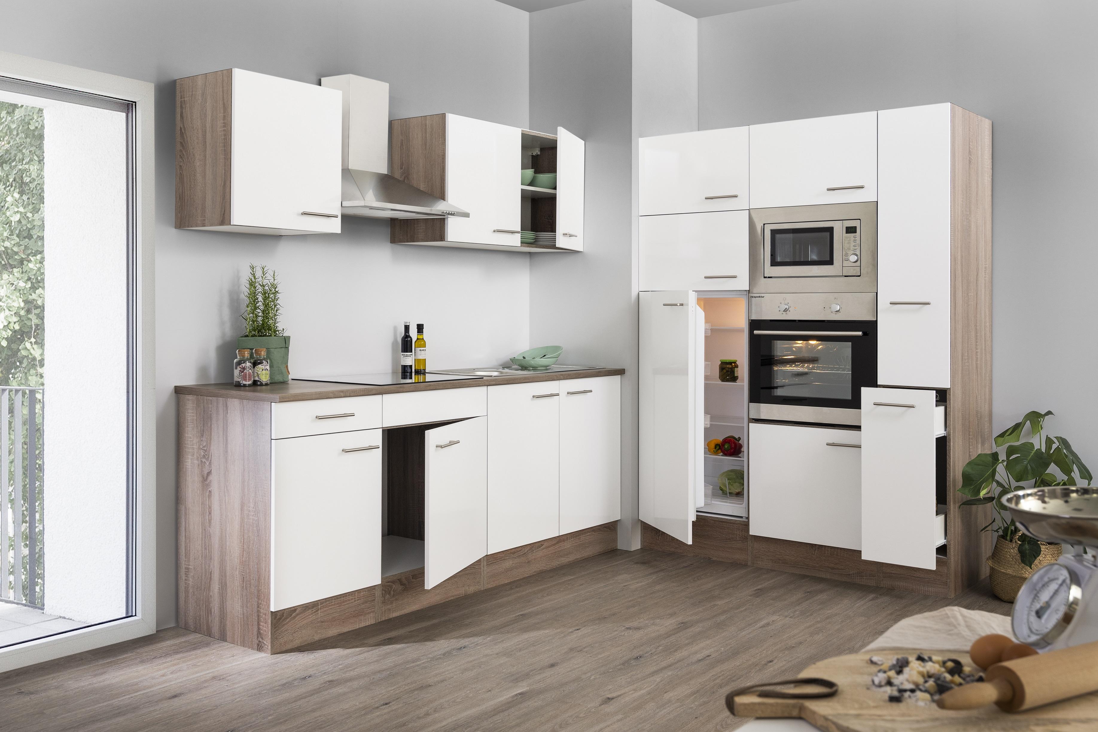 respekta Küche Küchenzeile Küchenblock Leerblock 360 cm Eiche York weiss Glanz