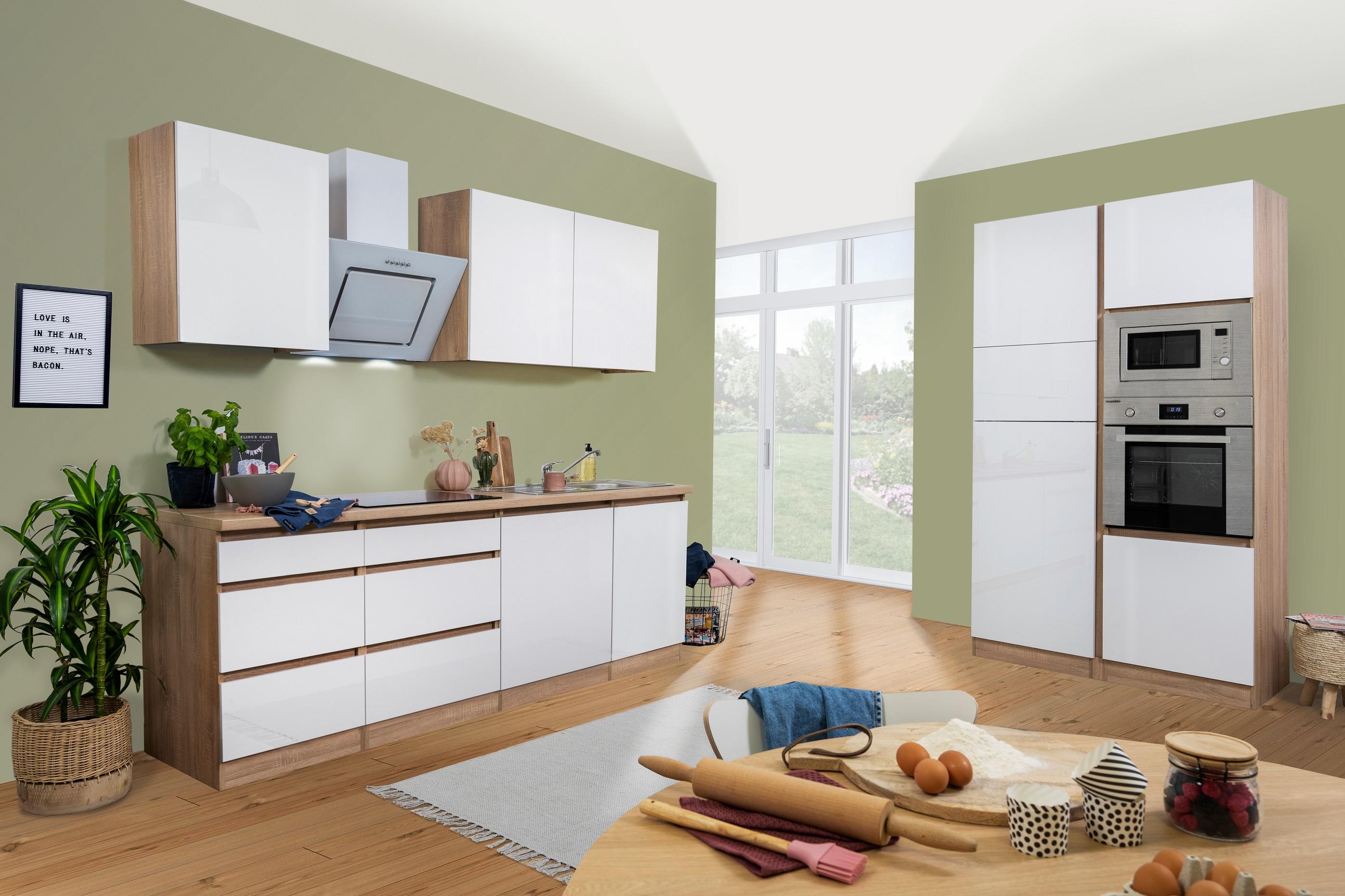 respekta Küchenzeile Küchenblock grifflose Einbau Küche 345 cm Eiche Sonoma weiß