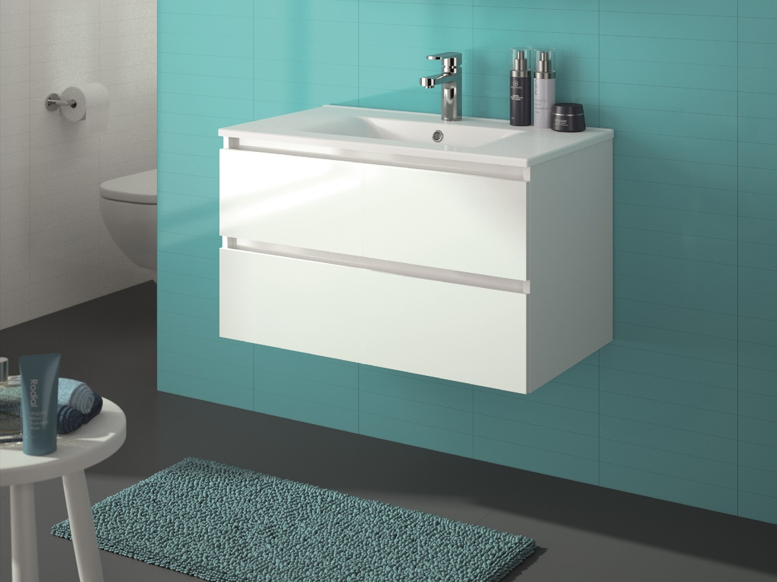 ALLIBERT Badmöbel-Set Badmöbel vormontiert weiß Glanz Softclose Waschtisch 80 cm