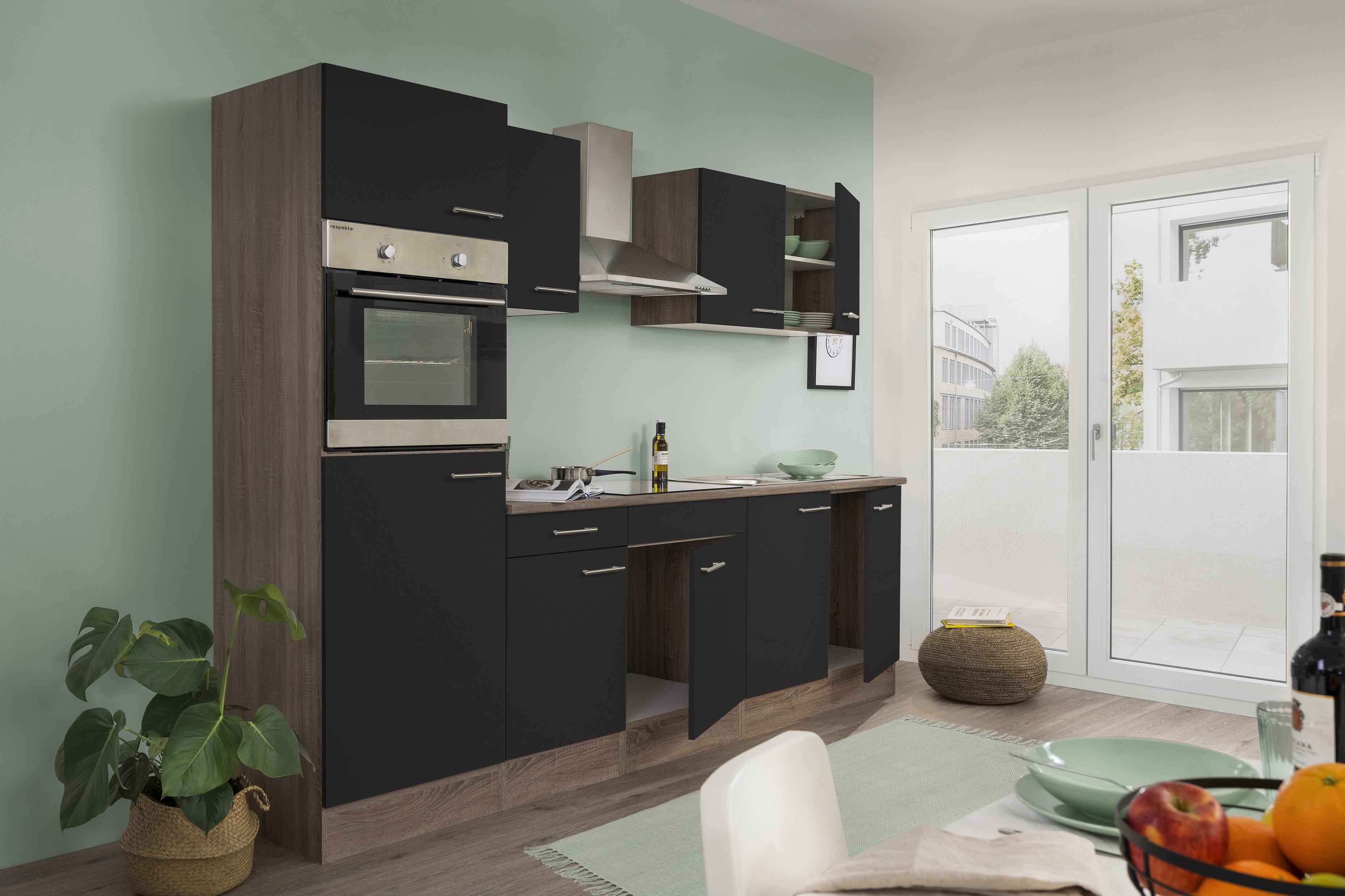 respekta Küchenzeile Küche Einbau Küchenblock Leerblock 270cm Eiche York schwarz