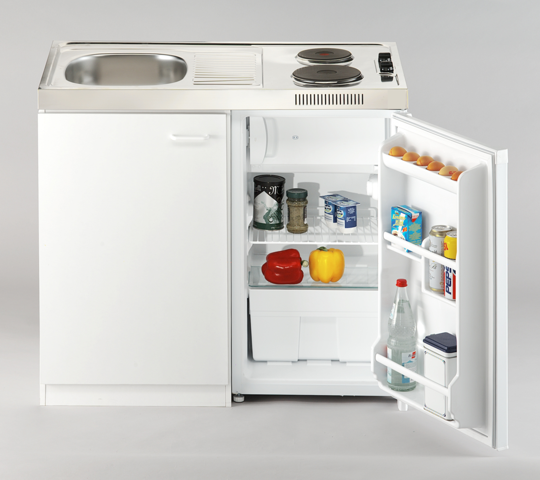 respekta Miniküche Küche Küchenzeile Küchenblock Single Pantryküche 100 cm weiß