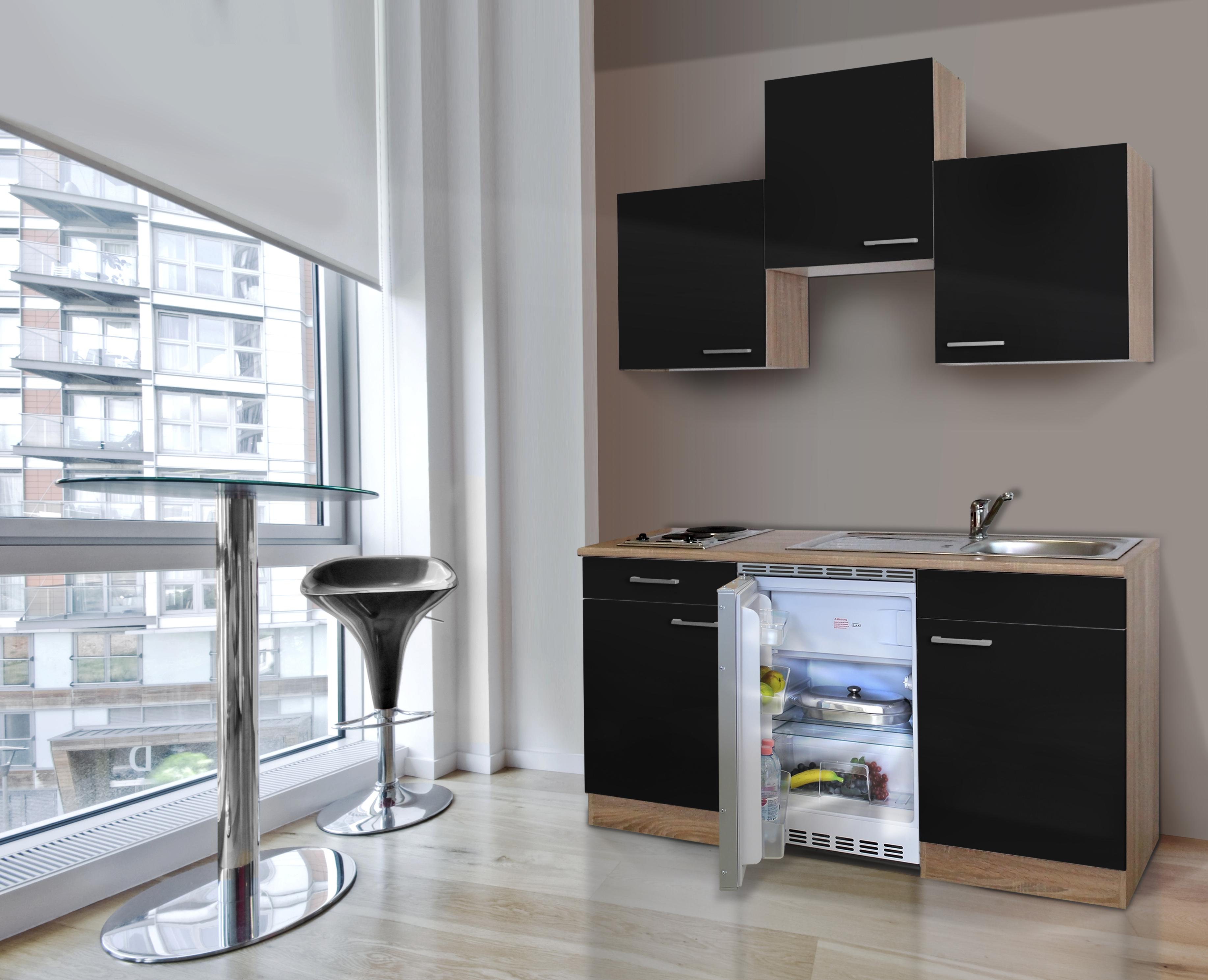 respekta Küche Singleküche Küchenzeile Küchenblock 150 cm Eiche Sägerau schwarz