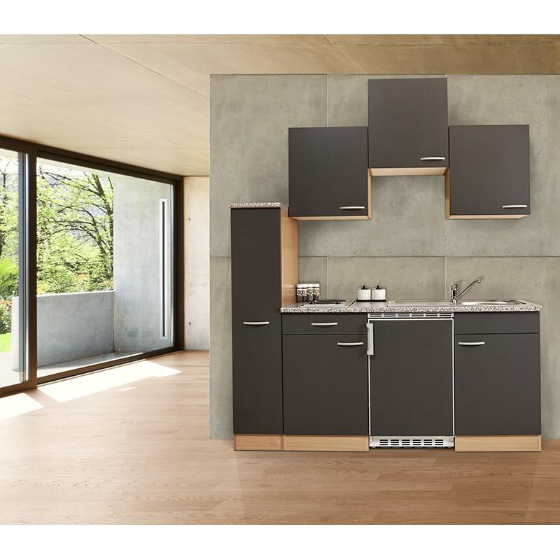 respekta Küche Singleküche Küchenzeile Küchenblock Miniküche 180 cm Buche grau