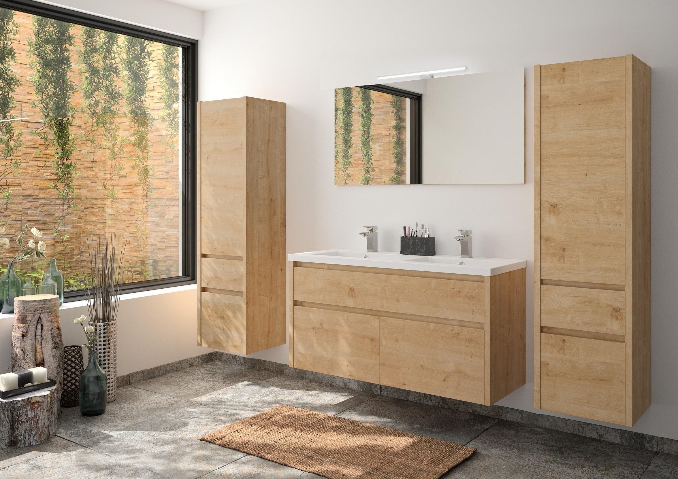 Badmöbel Set Unterschrank 120 cm Waschbecken Spiegel vormontiert Eiche ALLIBERT