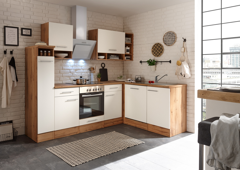 Winkelküche Küchenzeile L-Form Küche Einbauküche Eiche weiß 250x172 cm respekta