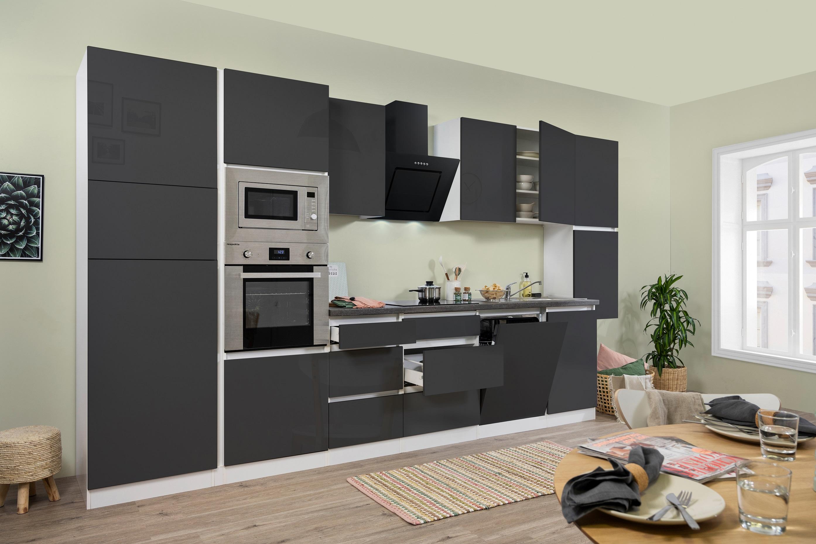 respekta Küchenzeile Küche Küchenblock grifflose Einbauküche 395 cm weiß grau